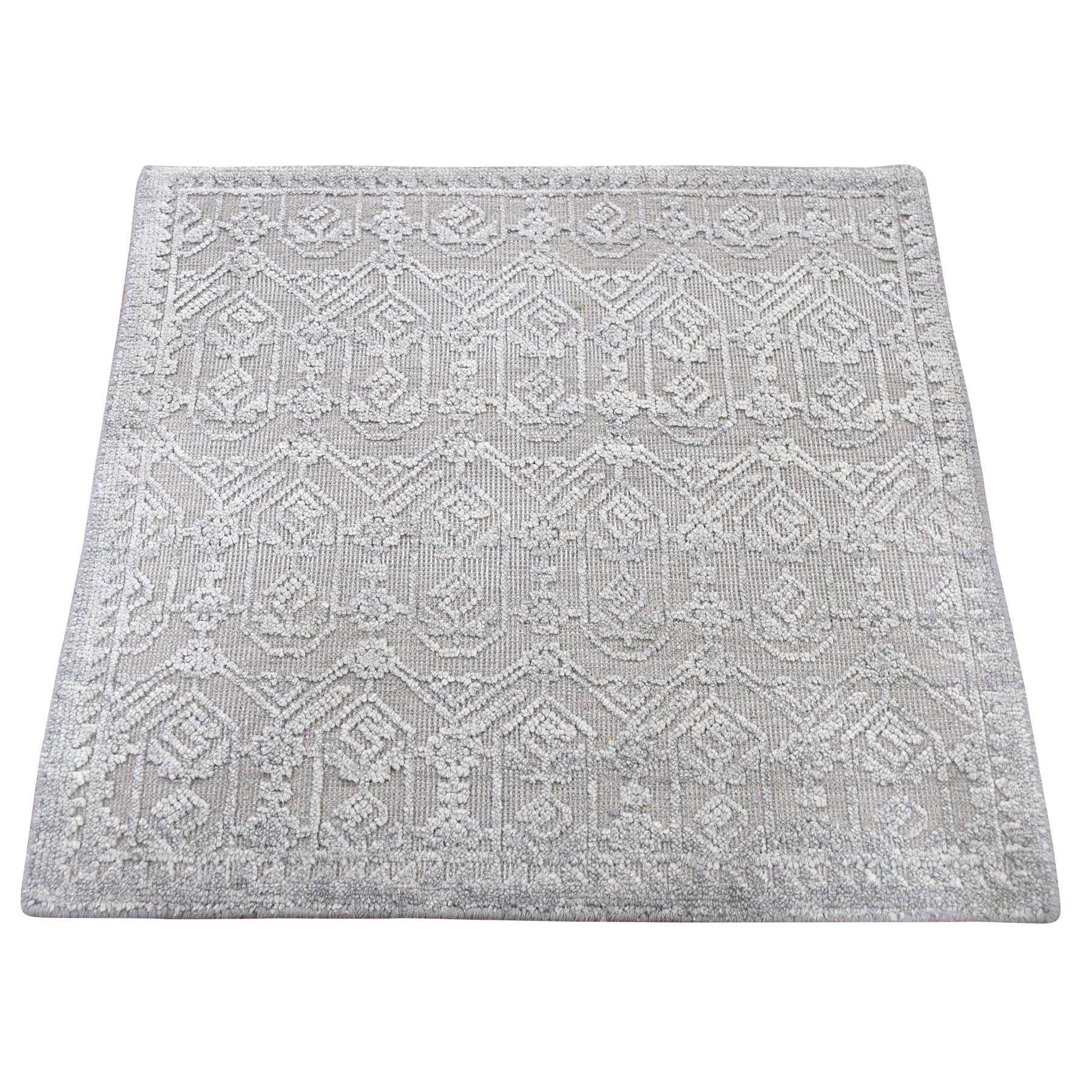 """2'X2'1"""" Silk With Textured Wool Hand-Knotted Oriental Sample Rug moadd6e9"""