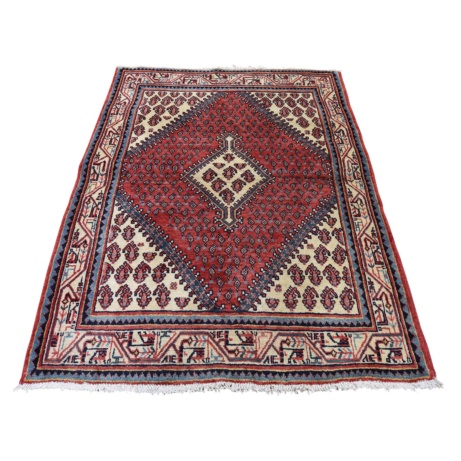 """3'7""""X5'2"""" Vintage Persian Sarouk Mir Pure Wool Hand-Knotted Oriental Rug moadd66d"""