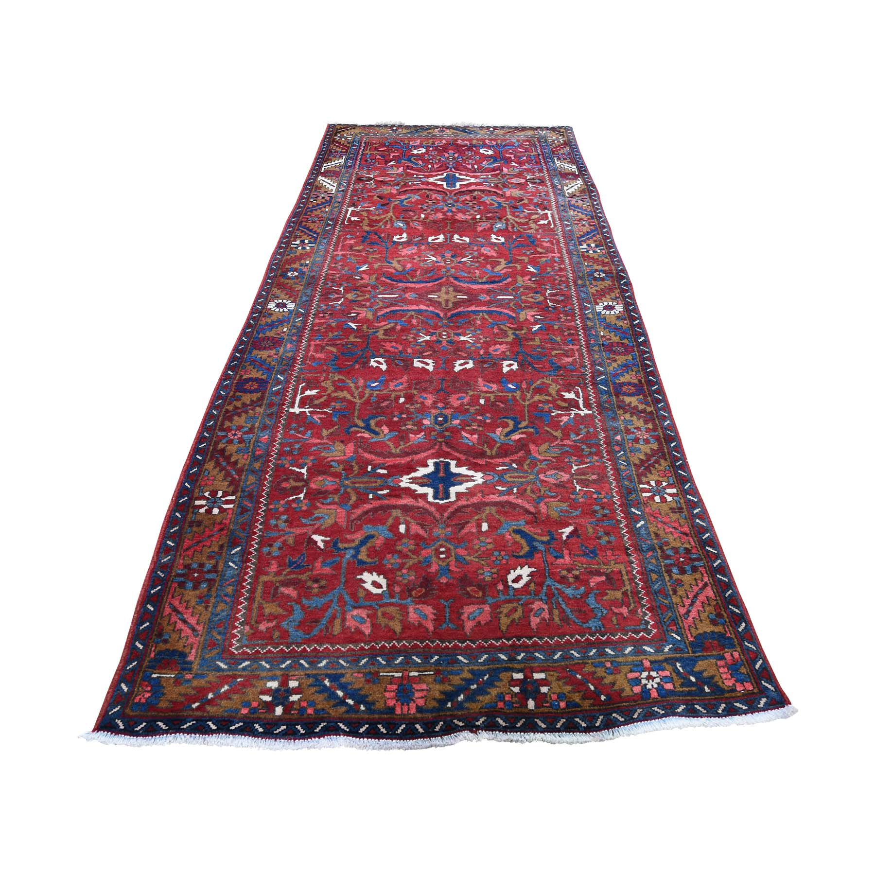 """3'9""""X11' Vintage Persian Heriz Hand-Knotted Pure Wool Wide Runner Oriental Rug moadd670"""