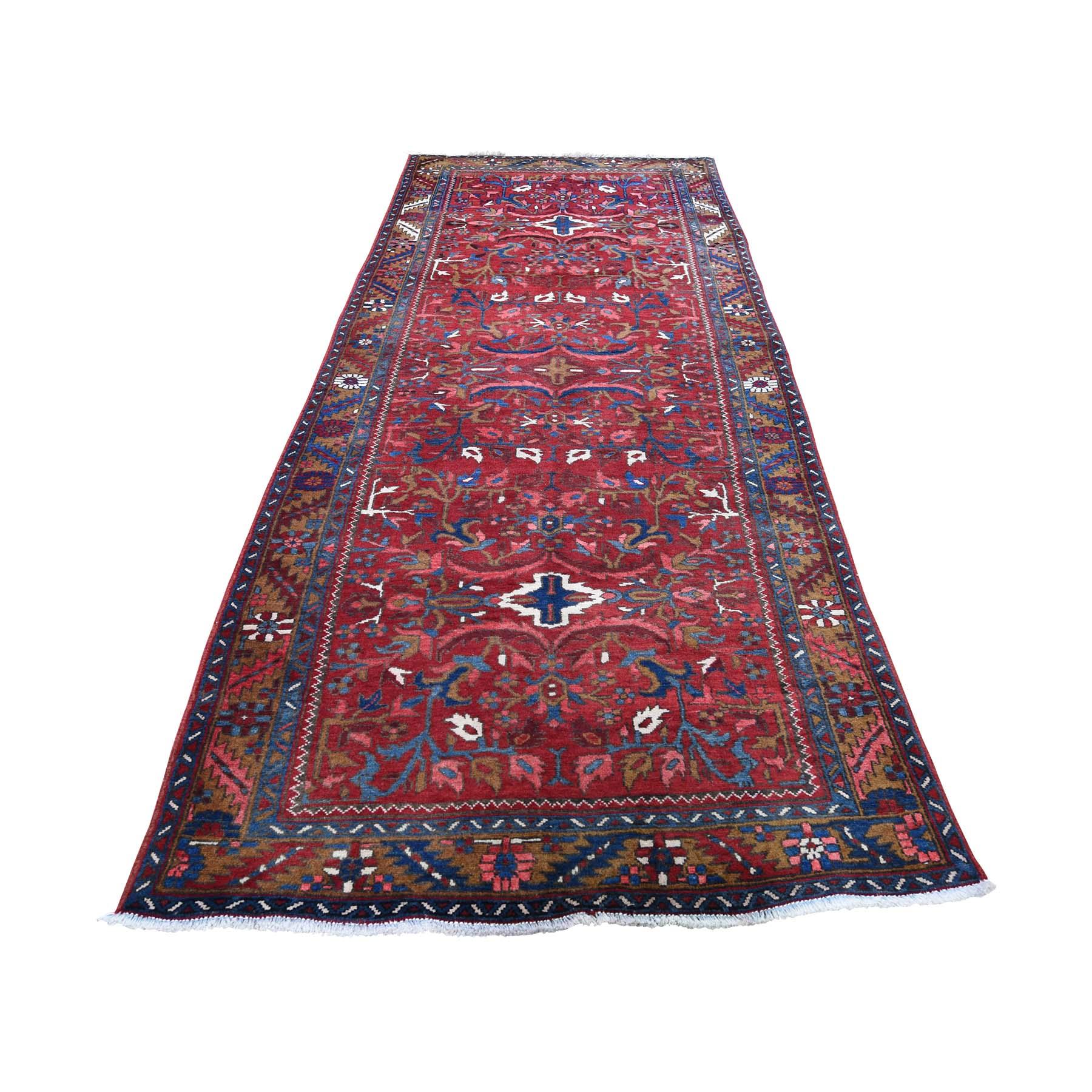 "3'9""x11' Vintage Persian Heriz Hand-Knotted Pure Wool Wide Runner Oriental Rug"
