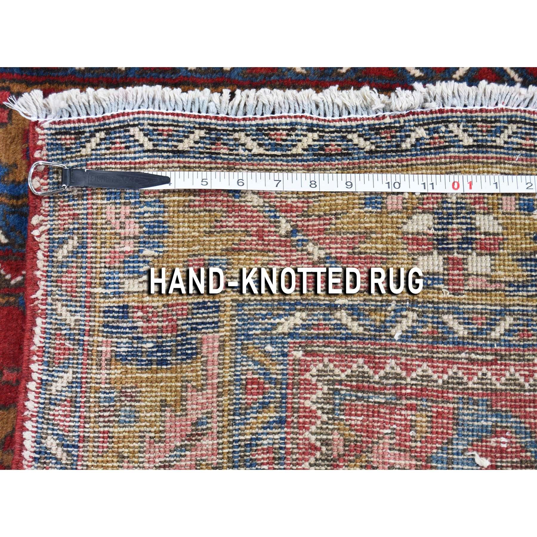 3-9 x11- Vintage Persian Heriz Hand-Knotted Pure Wool Wide Runner Oriental Rug