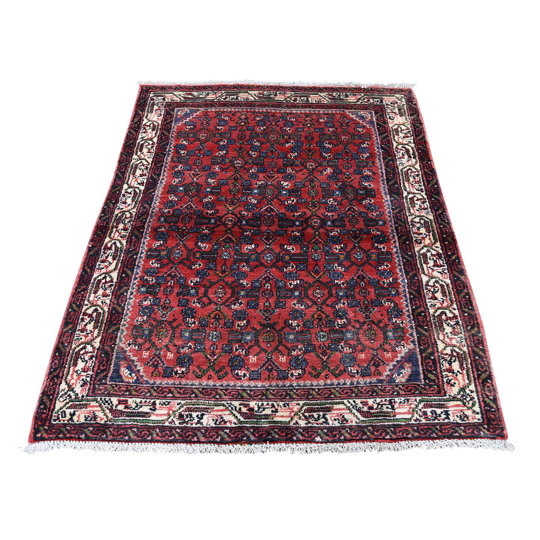 """3'4""""X4'6"""" Vintage Persian Hamadan Pure Wool Hand-Knotted Oriental Rug moadd67c"""