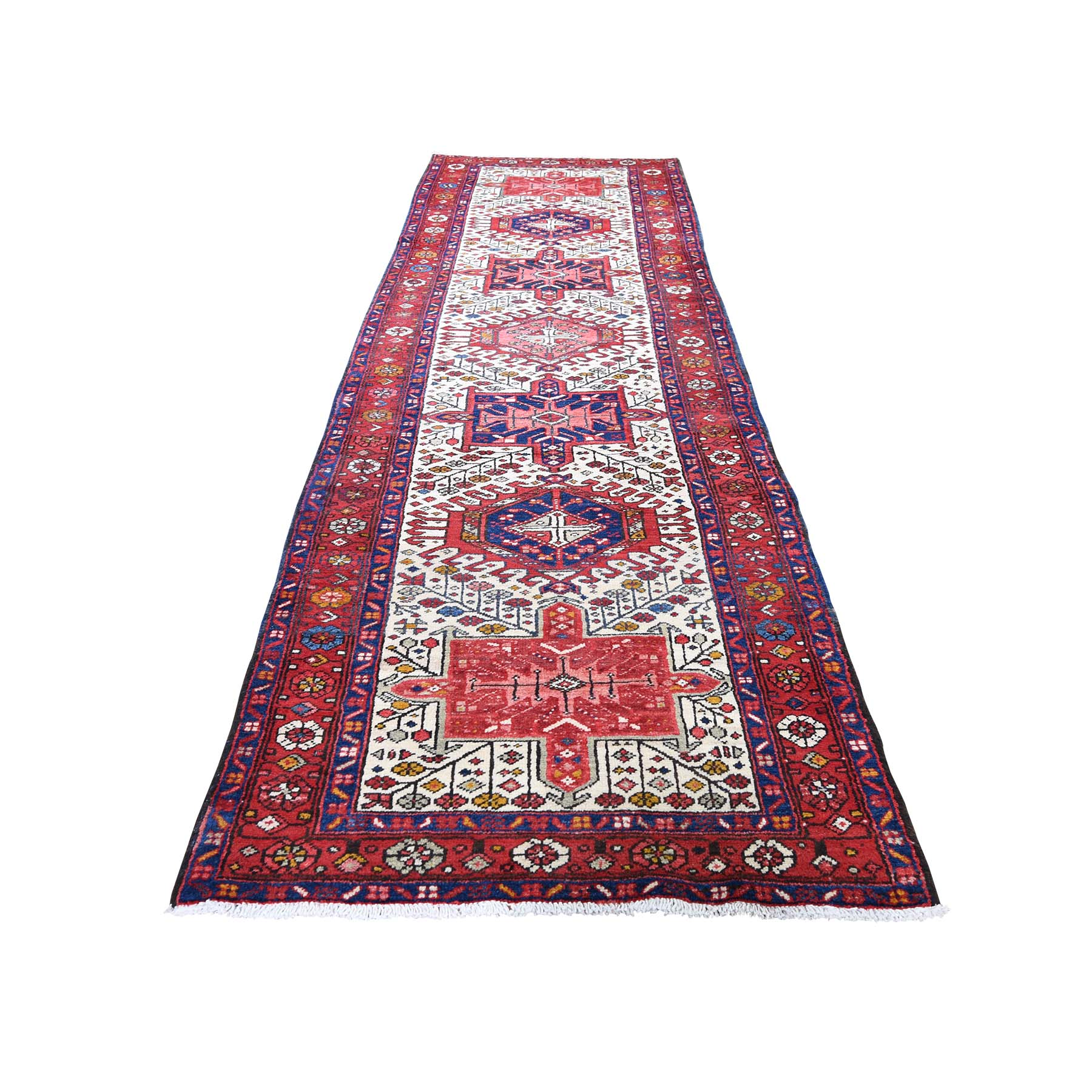 "3'3""X11'2"" Vintage Persian Karajeh Pure Wool Hand-Knotted Runner Oriental Rug moadd70b"