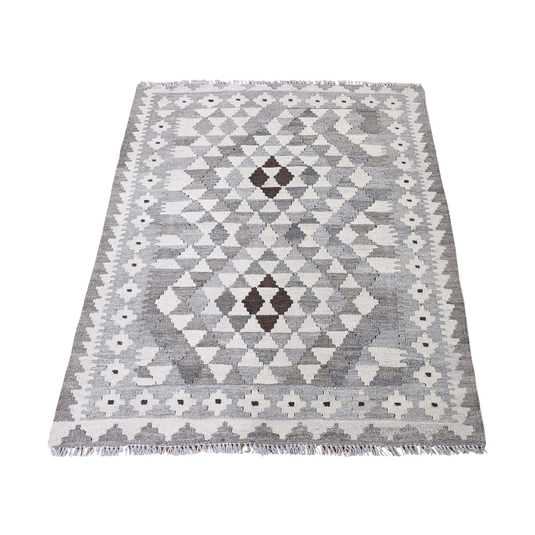 "2'10""X3'9"" Undyed Natural Wool Afghan Kilim Hand-Woven Oriental Rug moadd70c"