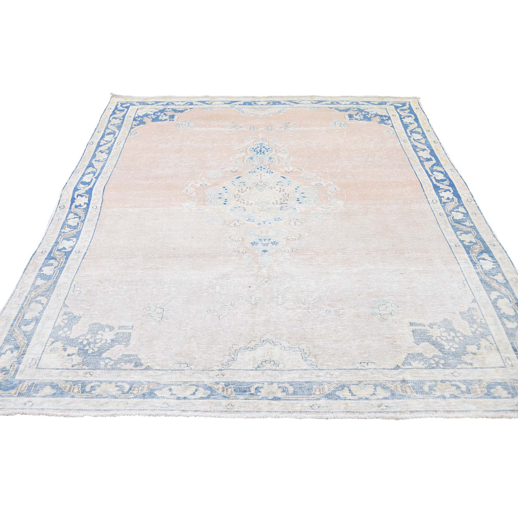 "4'7""X7'6"" Hand-Knotted White Wash Vintage Kerman Highlight Of Blue Worn Pile Oriental Rug moadd70e"