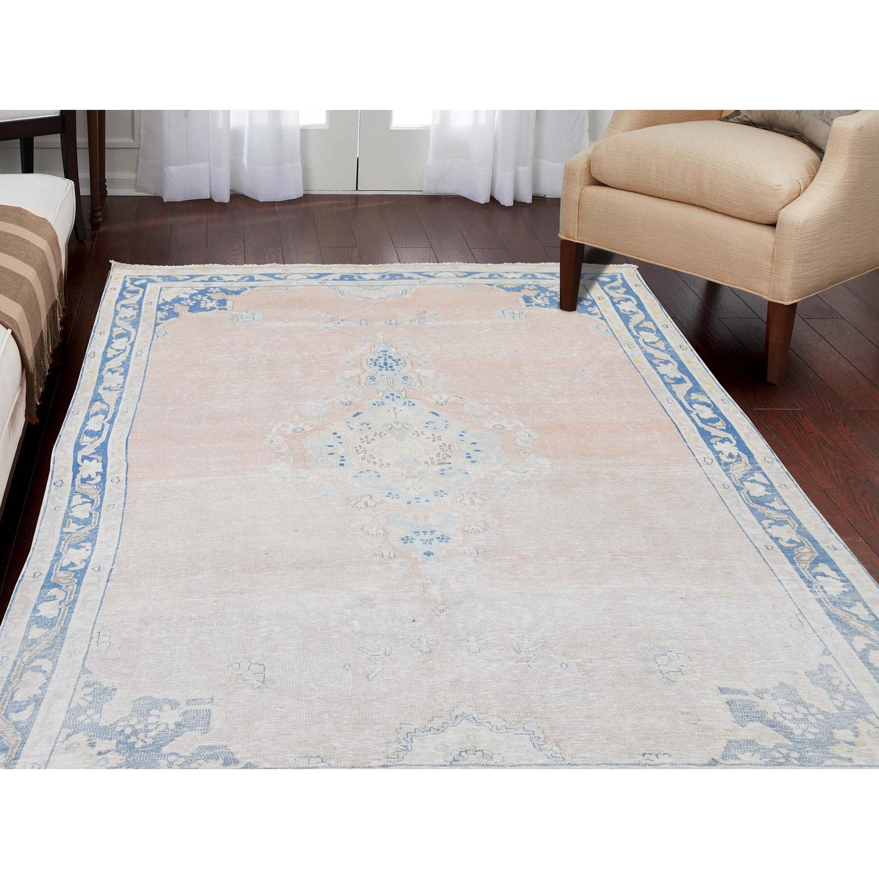 4-7 x7-6  Hand-Knotted White Wash Vintage Kerman Highlight Of Blue Worn Pile Oriental Rug