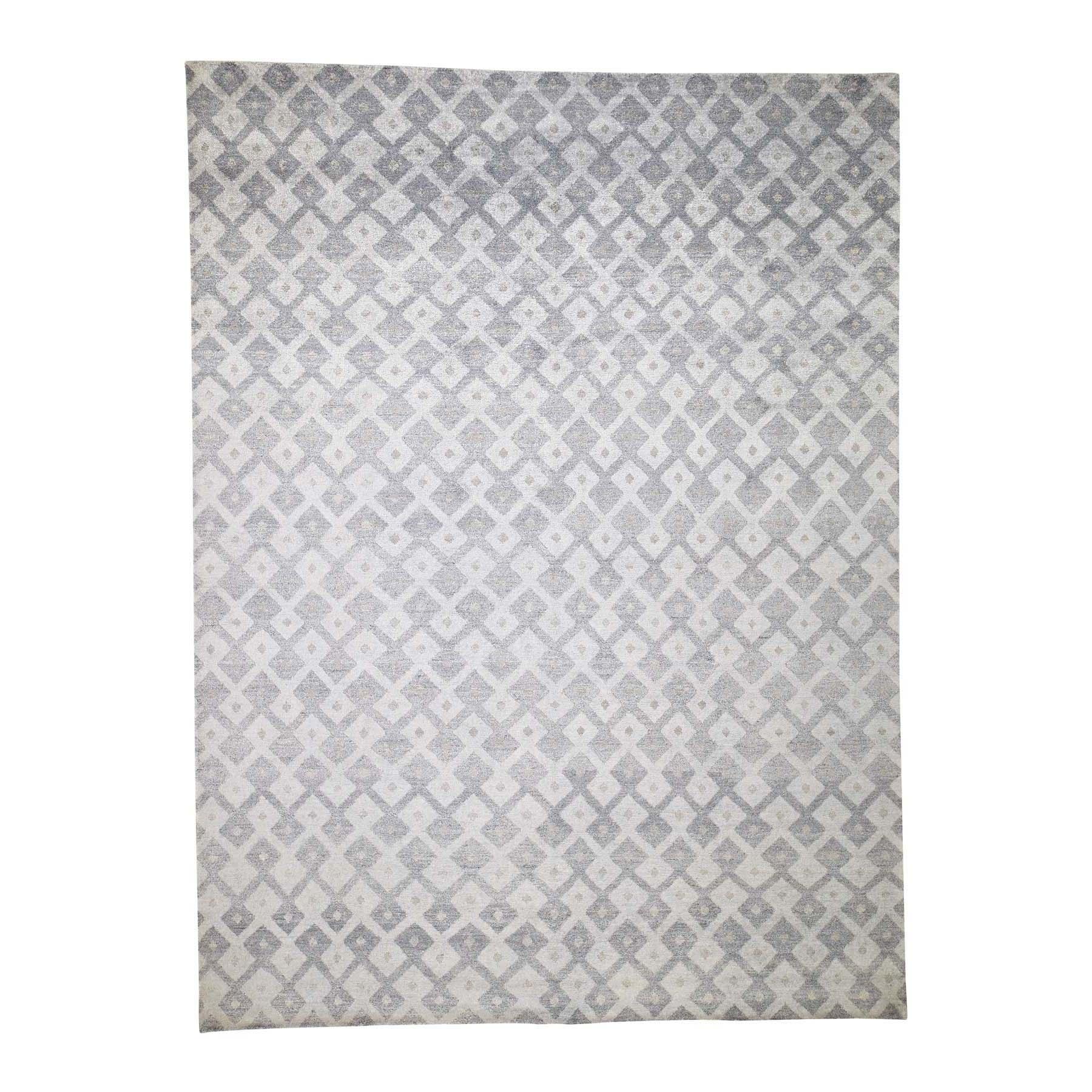 "8'9""X11'10"" Art Silk Geometric Design Hand-Knotted Oriental Rug moadd708"