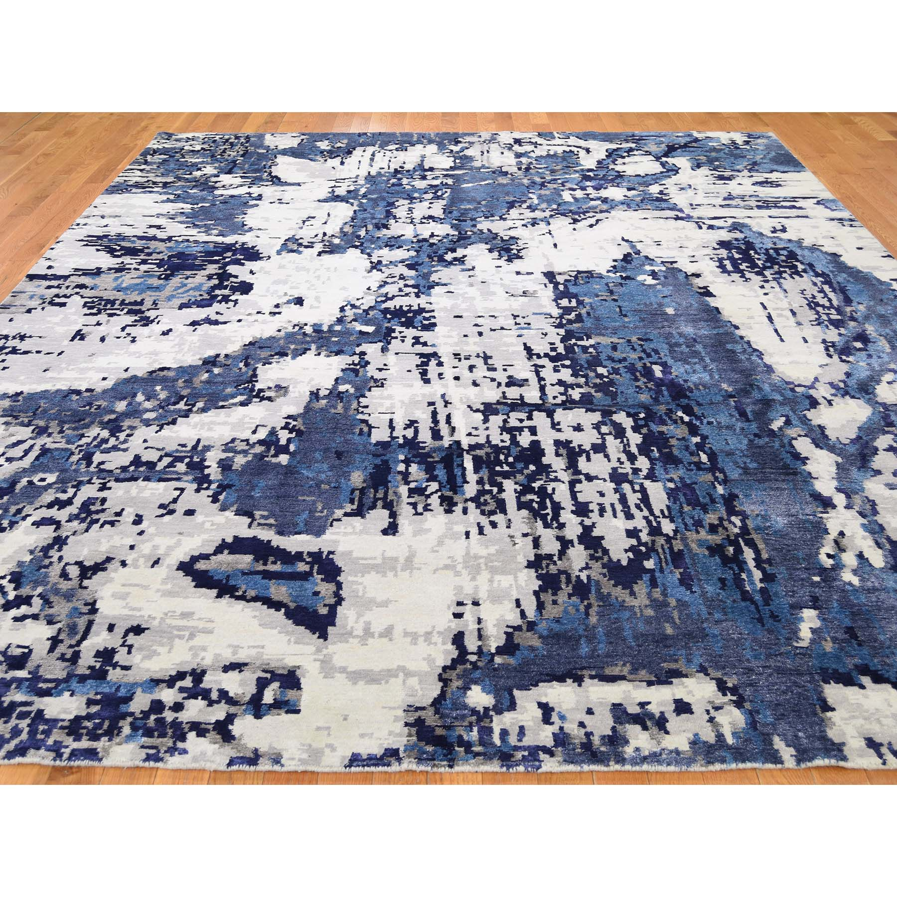 9-x12- High And Low Pile Abstract Design Wool And Silk Hand-Knotted Oriental Rug