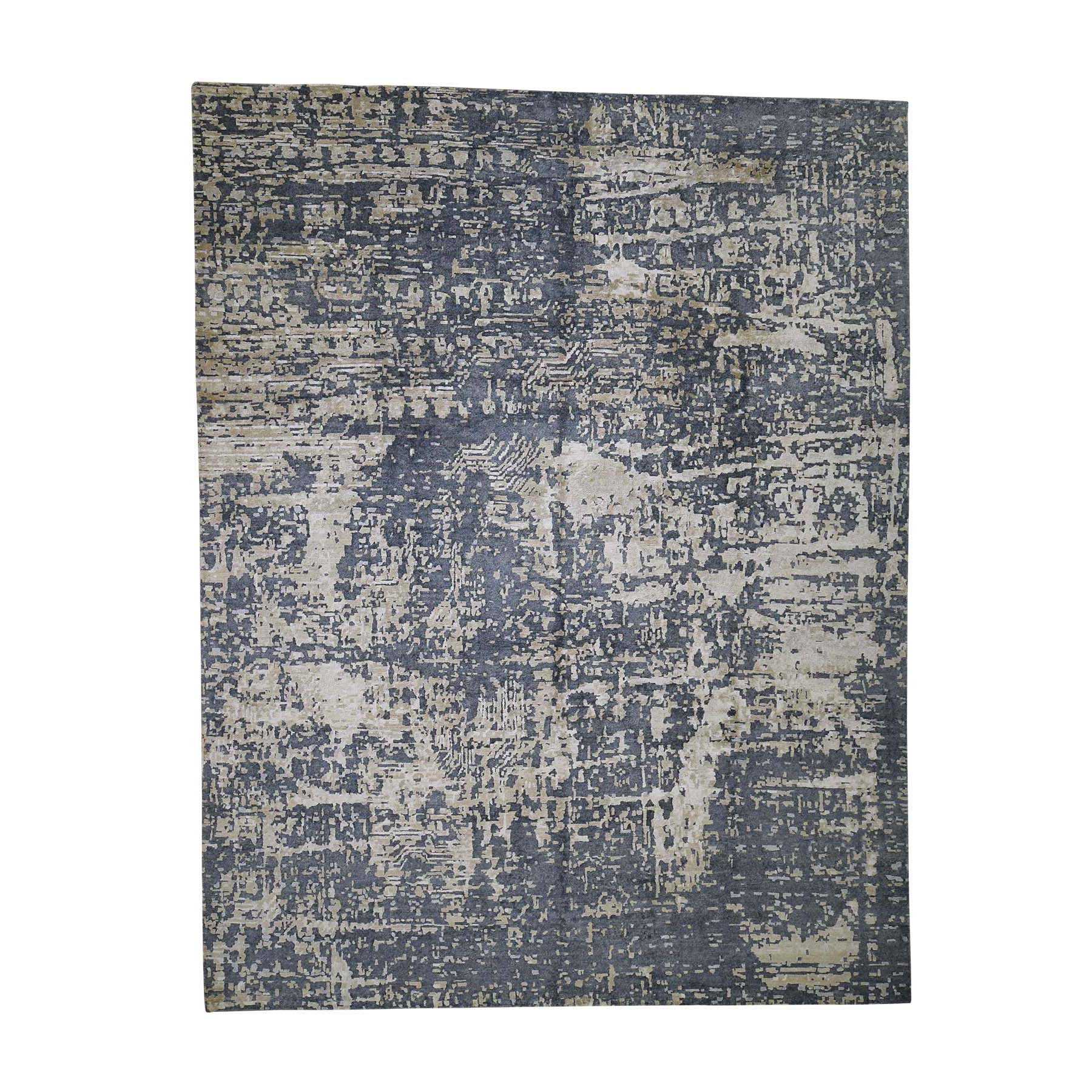 9-2 x12 Wool And Silk Abstract Design Oriental Hand-Knotted Rug