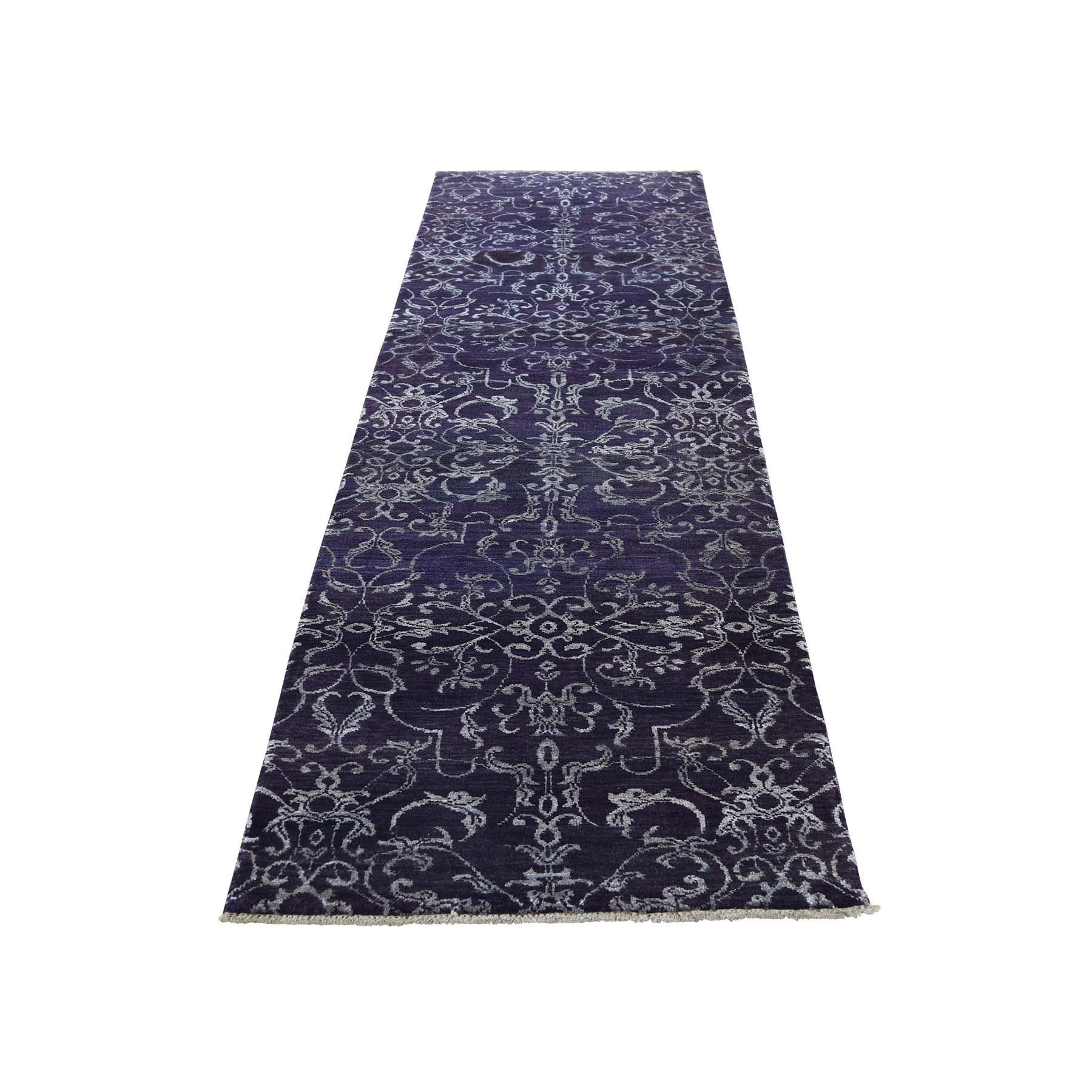 "2'5""x9'7"" Runner Wool and Silk Tone on Tone Damask Handmade Oriental Rug"