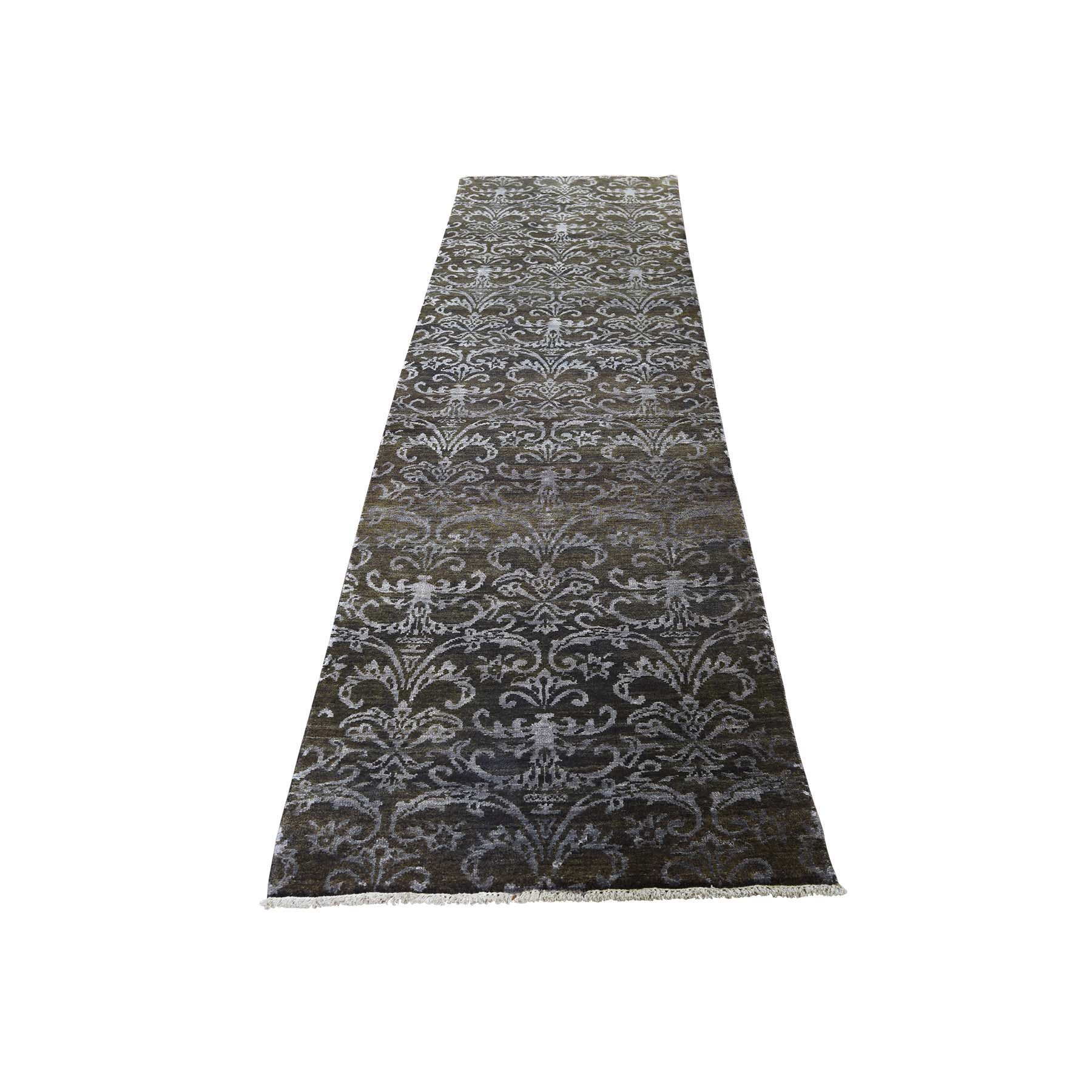 "2'4""x9'8"" Damask Tone on Tone Wool and Silk Runner Handmade Oriental Rug"