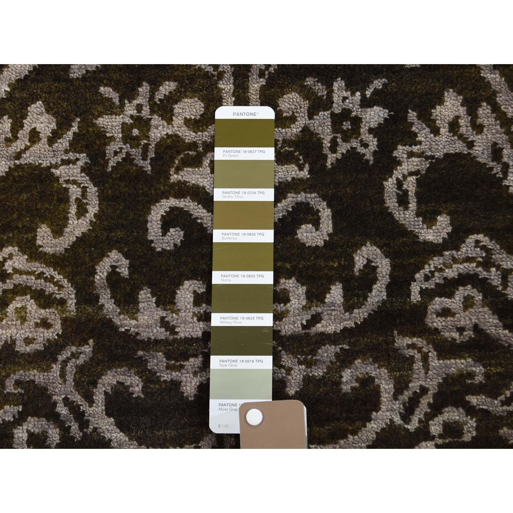 2-4 x9-8  Damask Tone on Tone Wool and Silk Runner Handmade Oriental Rug