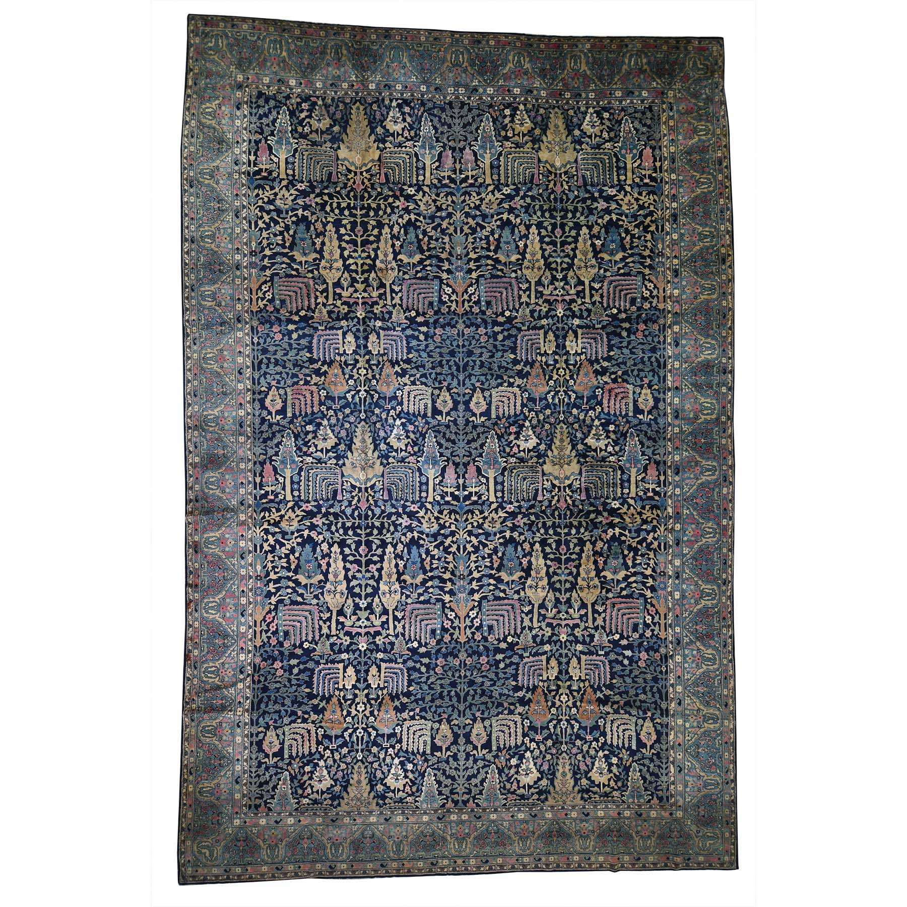 "11'7""X17'8"" Antique Maharaja Kashmir Oversized Willow Tree Design Hand-Knotted Oriental Rug moadd7c7"