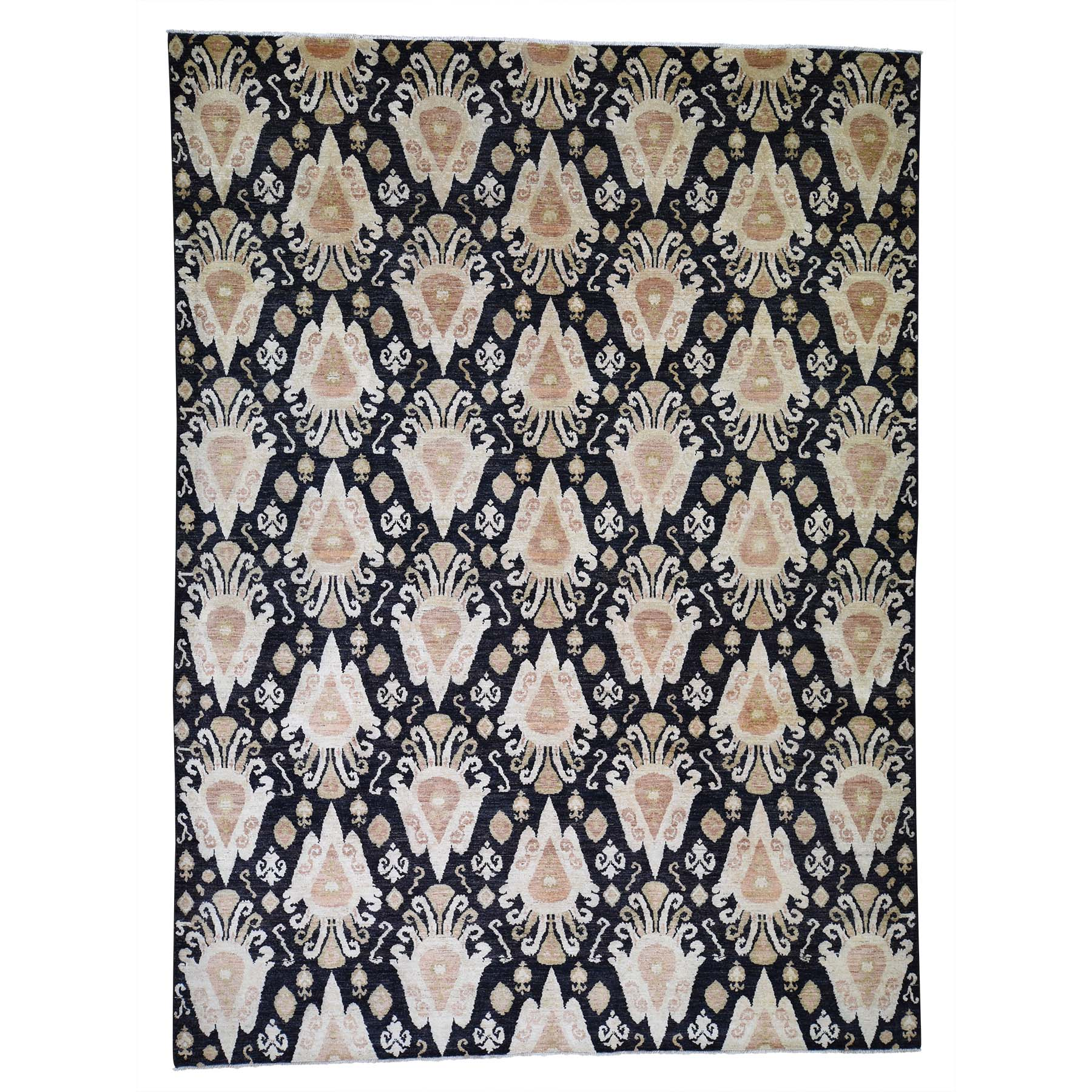 "9'2""x12'4"" Black Ikat Pure Wool Hand-Knotted Oriental Rug"