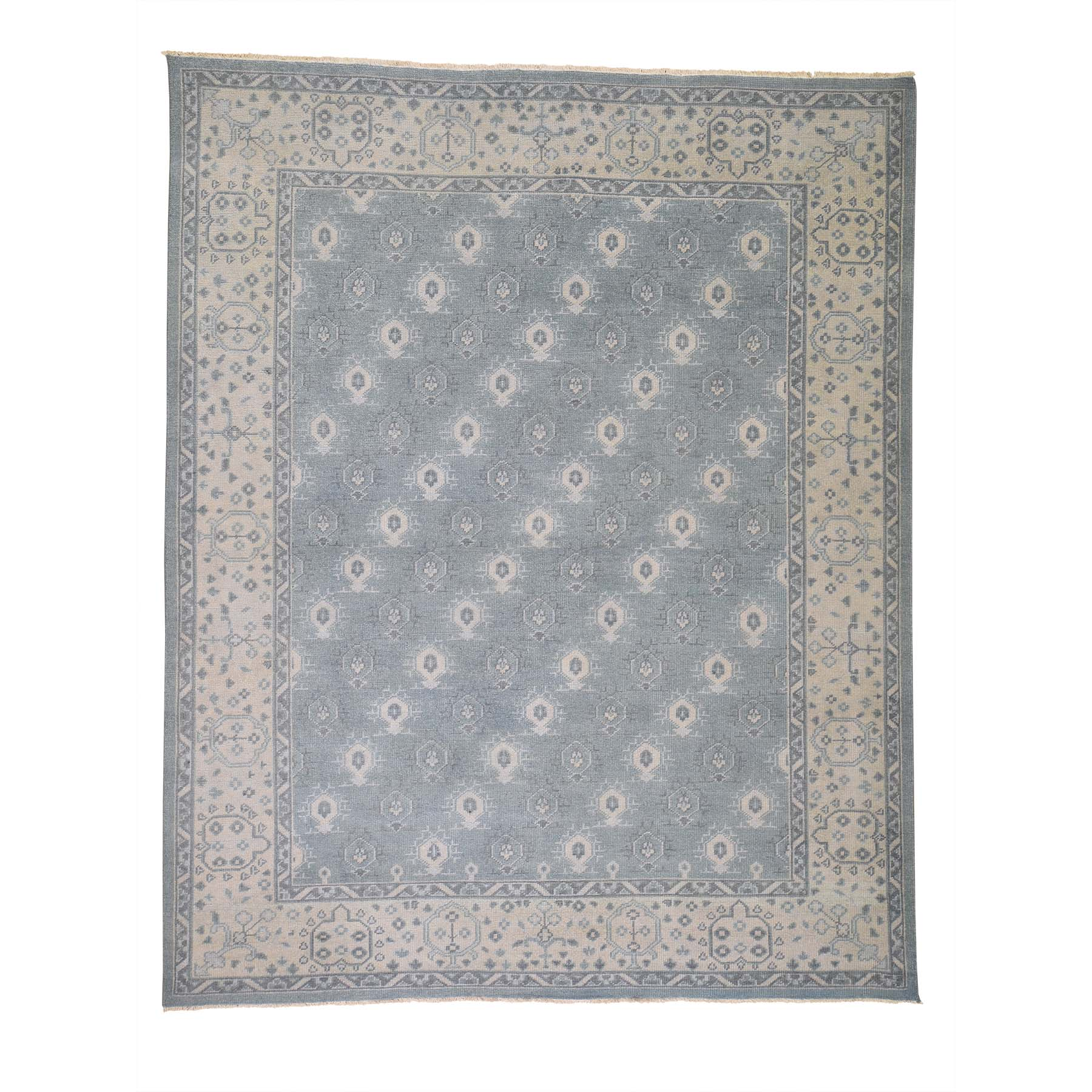 """7'10""""X9'8"""" Sky Blue Turkish Knot Oushak Cropped Thin Hand Knotted Oriental Rug moadd7d8"""