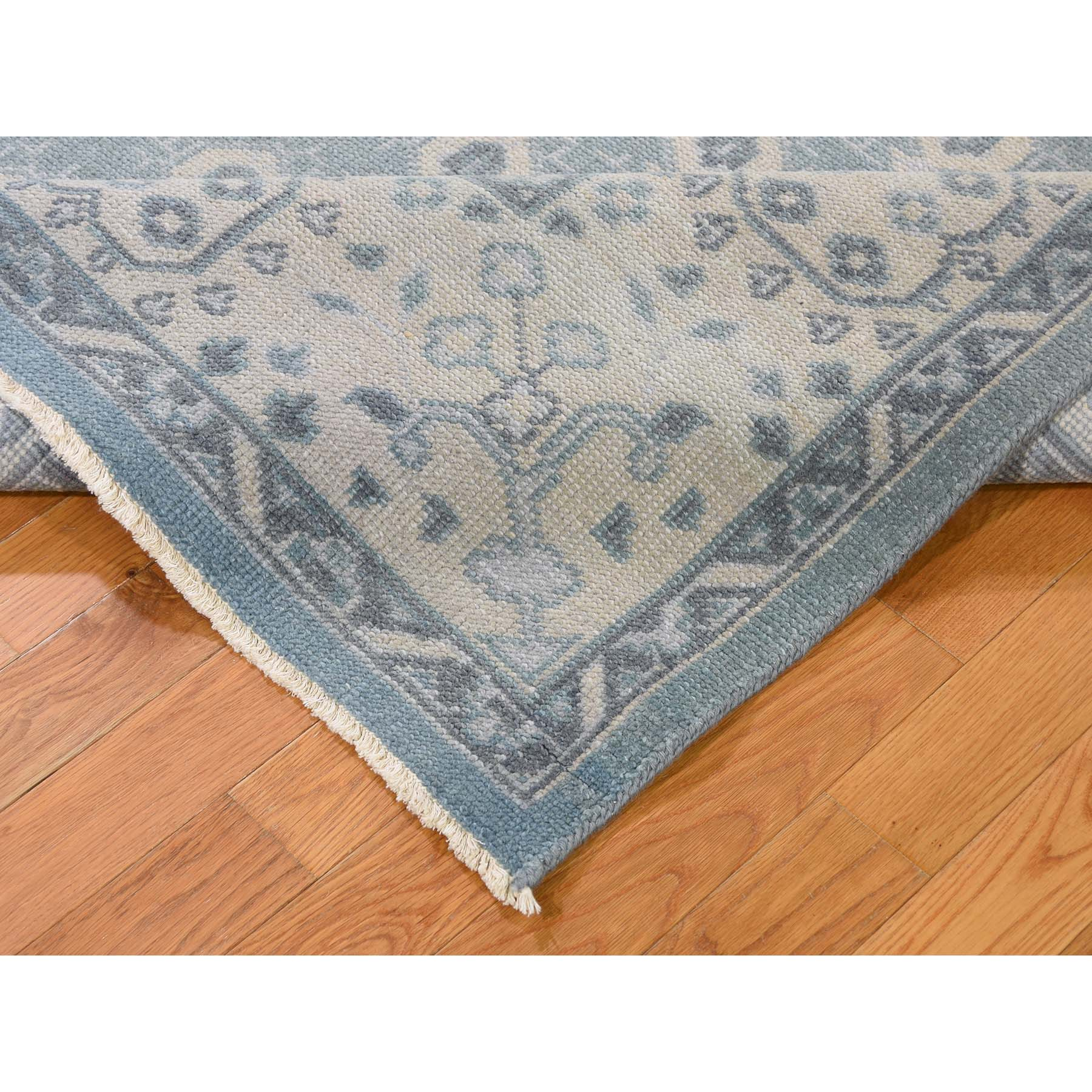 7-10 x9-8  Sky Blue Turkish Knot Oushak Cropped Thin Hand Knotted Oriental Rug
