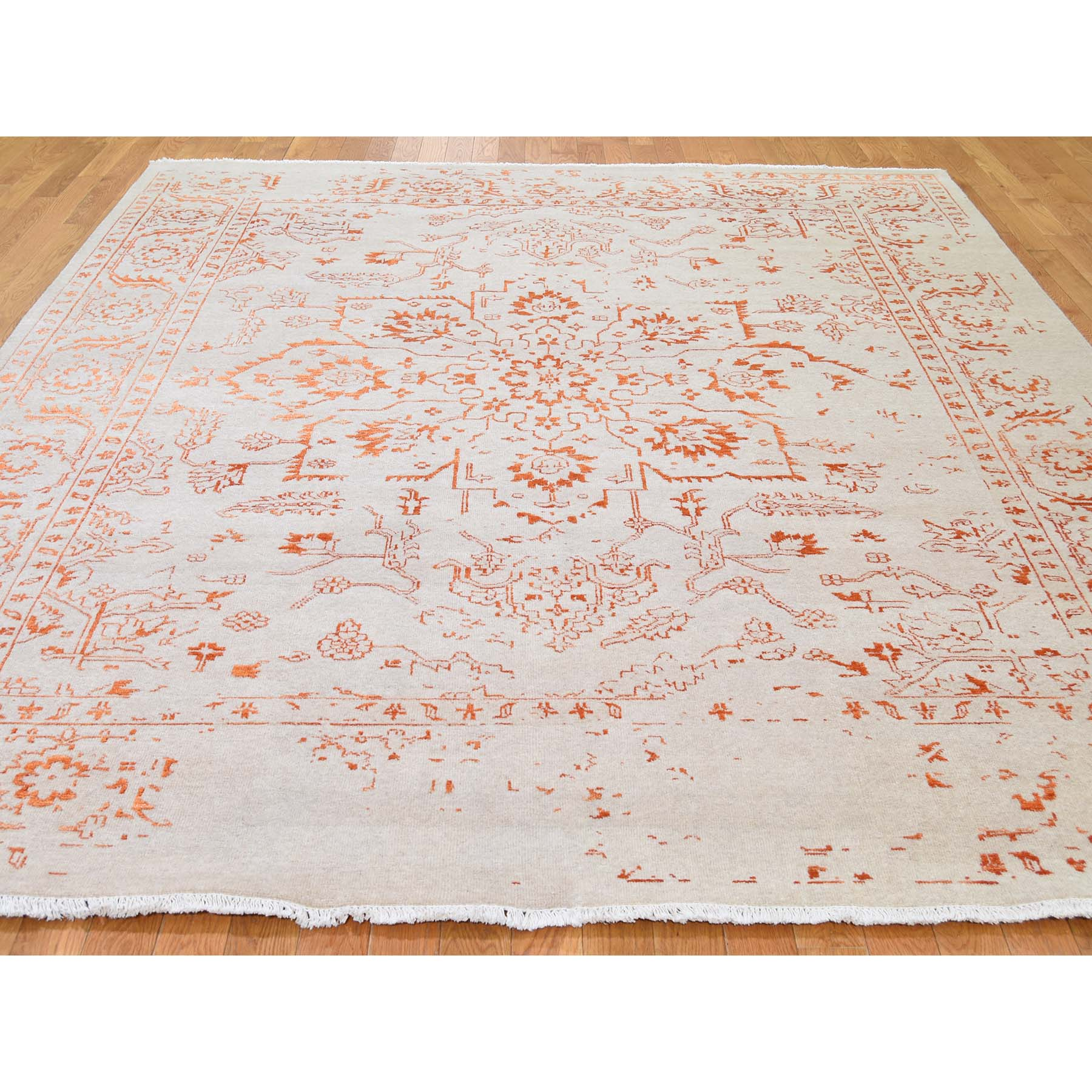 7-10 x10- Wool and Silk Heriz Broken Design Hand-Knotted Oriental Rug