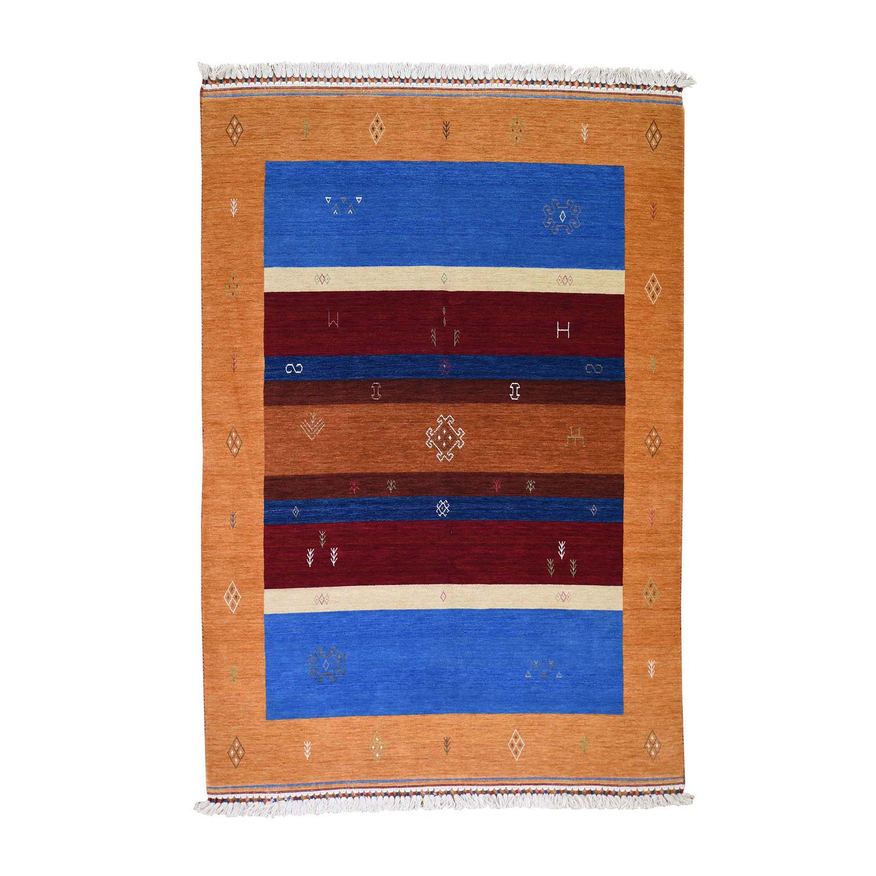 "5'7""x8' Modern Hand Loomed Gabbeh Pure Wool Oriental Rug"