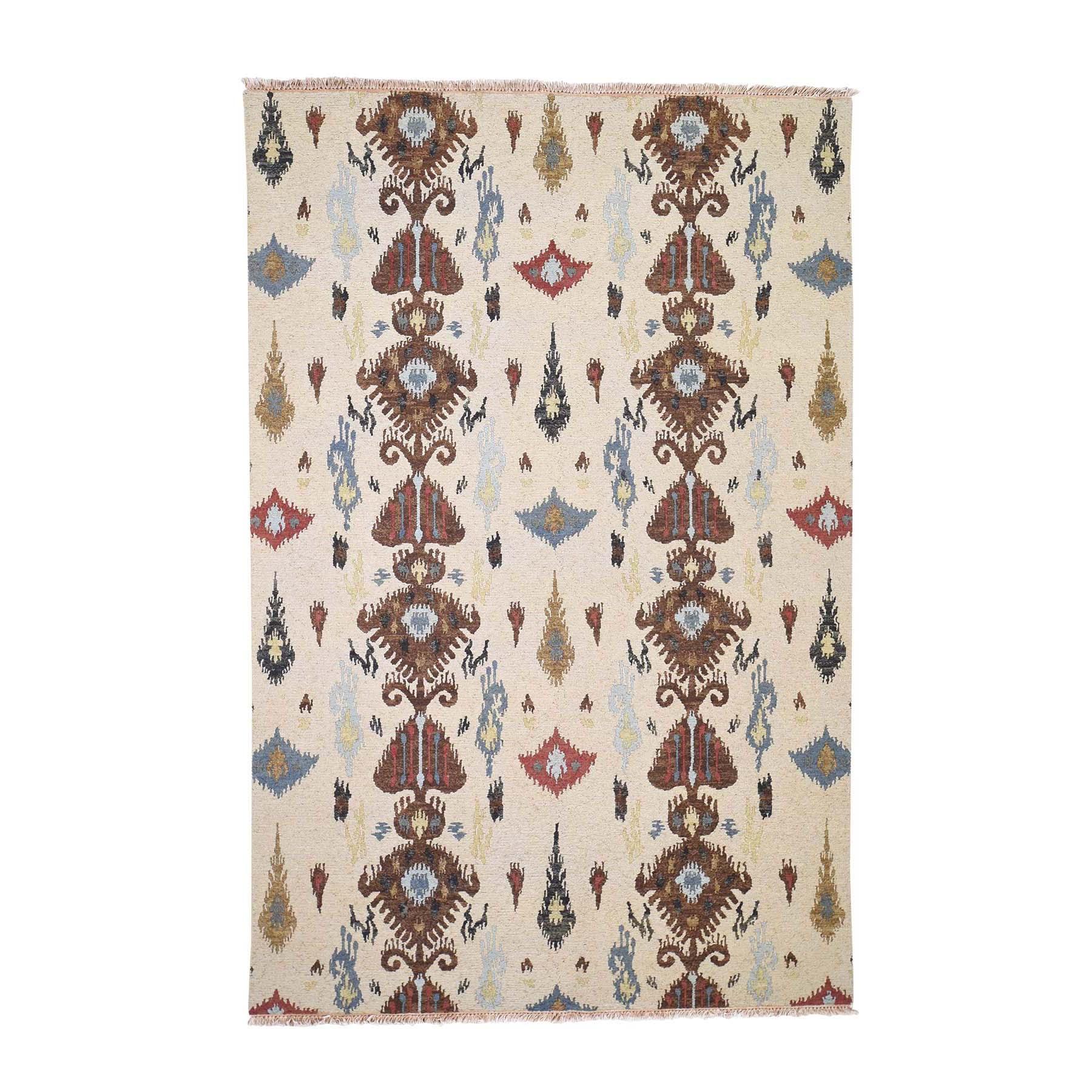 """5'6""""x8'3"""" Pure Wool Flat Weave Soumak Ikat Design Hand Woven Oriental Rug"""