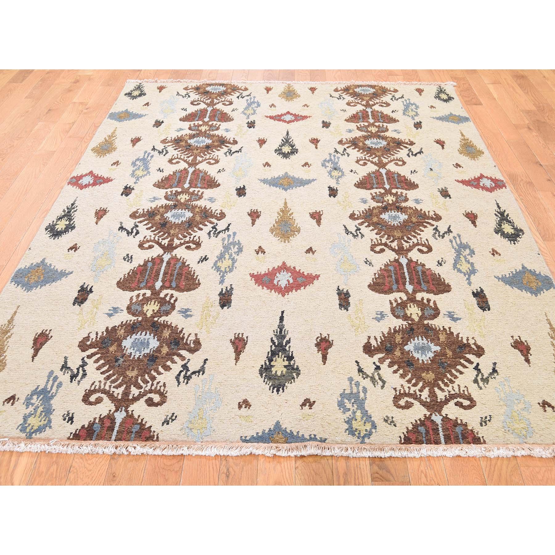 5-6 x8-3  Pure Wool Flat Weave Soumak Ikat Design Hand Woven Oriental Rug
