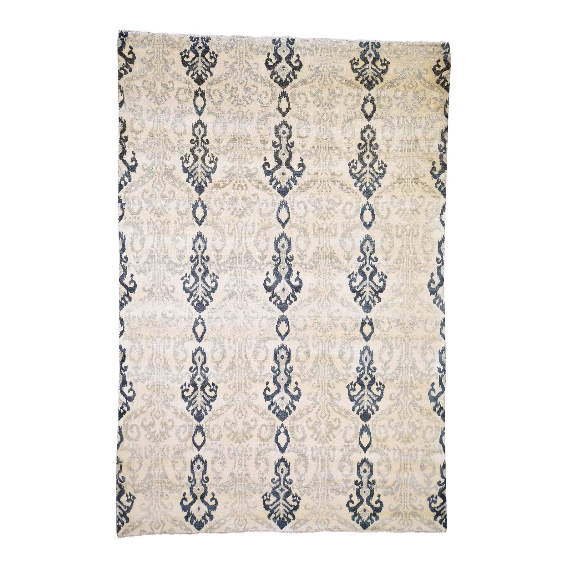 "5'10""x8'7"" Ikat Design Pure Wool Hand Knotted Oriental Rug"