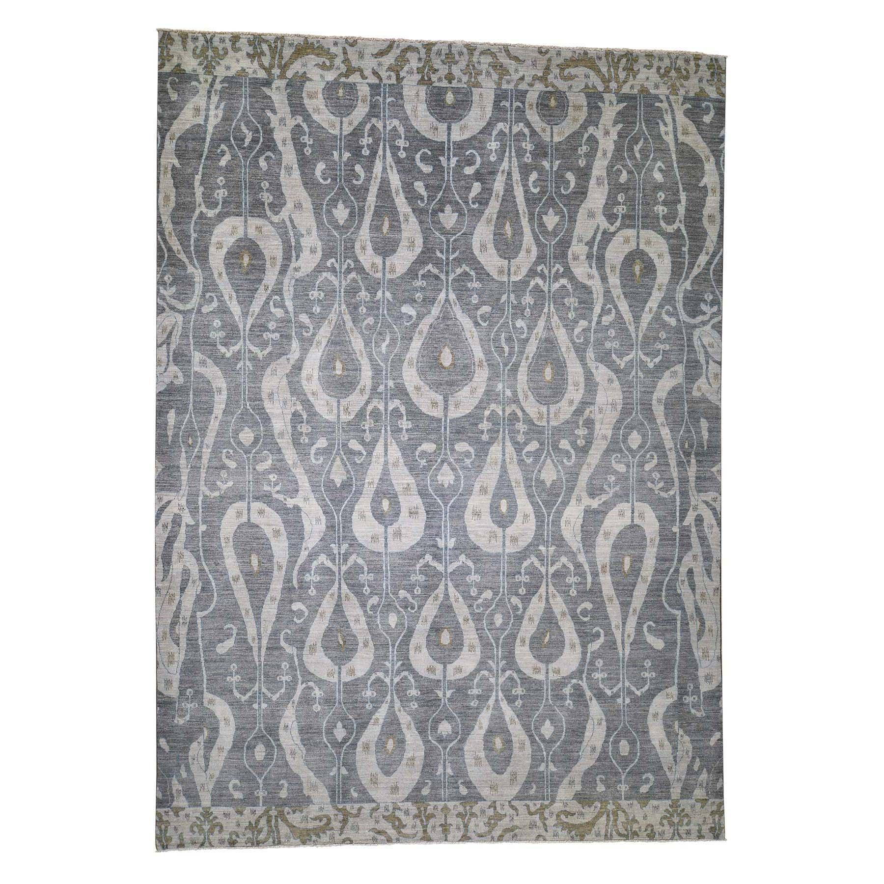 10'x14' Ikat Uzbek Design Pure Wool Hand Knotted Oriental Rug