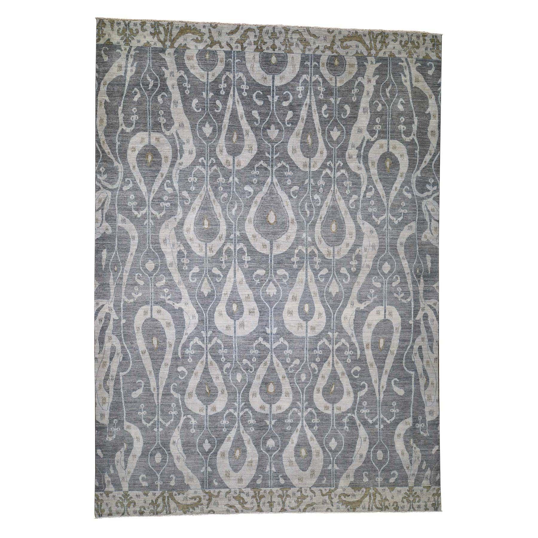 10'X14' Ikat Uzbek Design Pure Wool Hand Knotted Oriental Rug moadd786