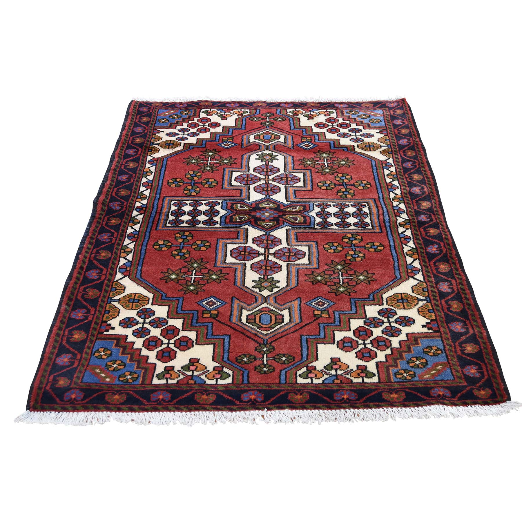 "3'5""X5'3"" Vintage Persian Hamadan Pure Wool Hand-Knotted Oriental Rug moadd79e"