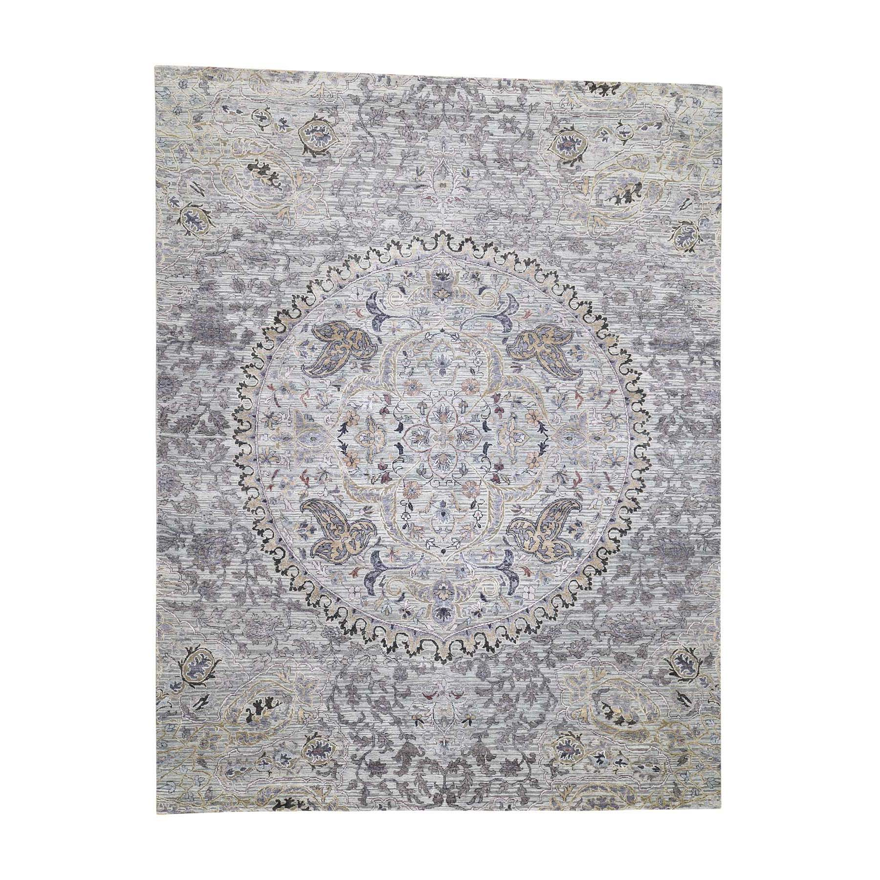 "7'9""x10'1"" THE MAHARAJA, Silk with Textured Wool Hand-Knotted Oriental Rug"