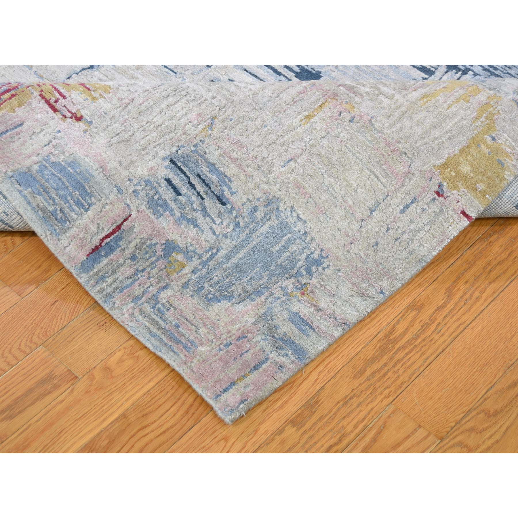 """8'10""""x12' THE CROSSING POINTS, Wool And Pure Silk Hand-Knotted Oriental Rug"""