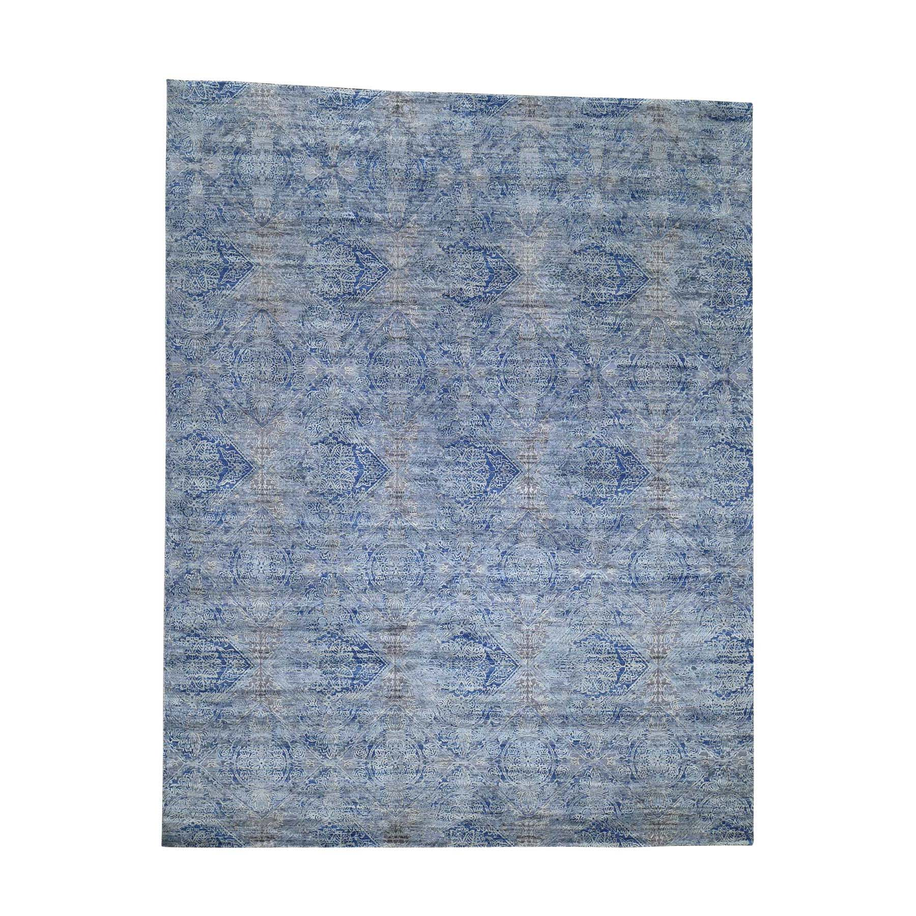 "8'X10'2"" Erased Rossets,Silk With Oxidized Wool Denim Blue Hand-Knotted Oriental Rug moadd807"