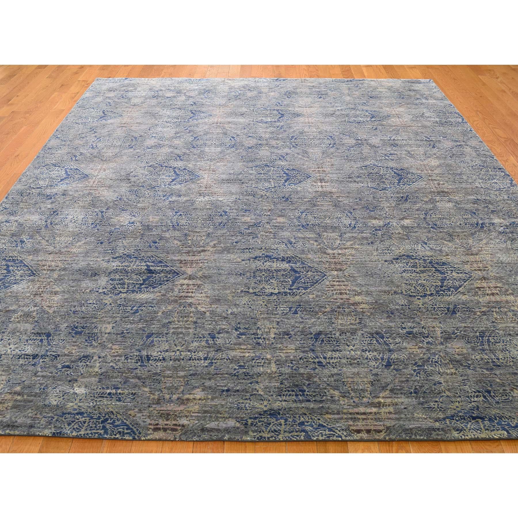 "8'x10'2"" ERASED ROSSETS,Silk With Textured Wool Denim BluE Hand-Knotted Oriental Rug"