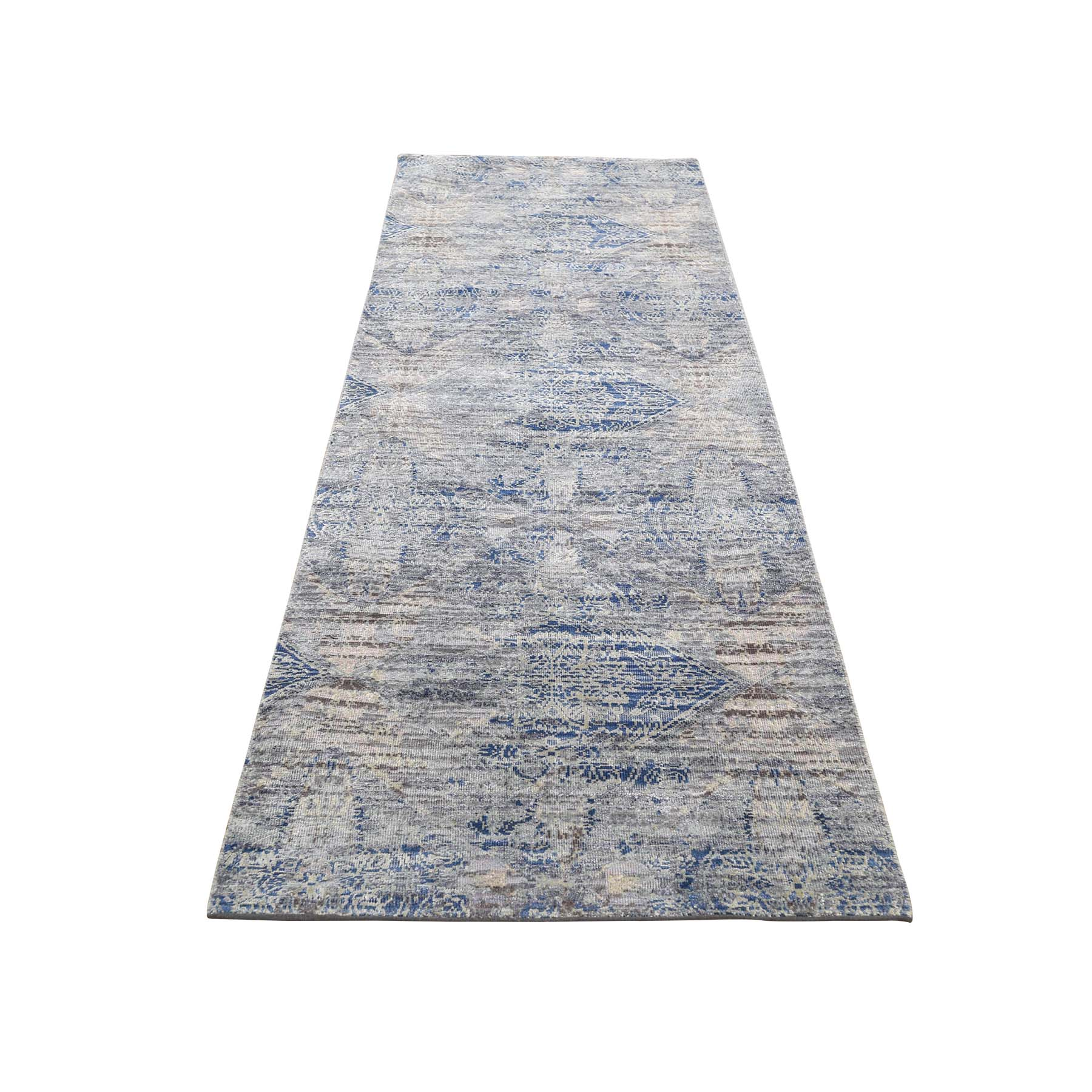 "2'5""x8'2"" Silk With Textured Wool Denim Blue Erased Rossette Design Runner Hand-Knotted Oriental Rug"