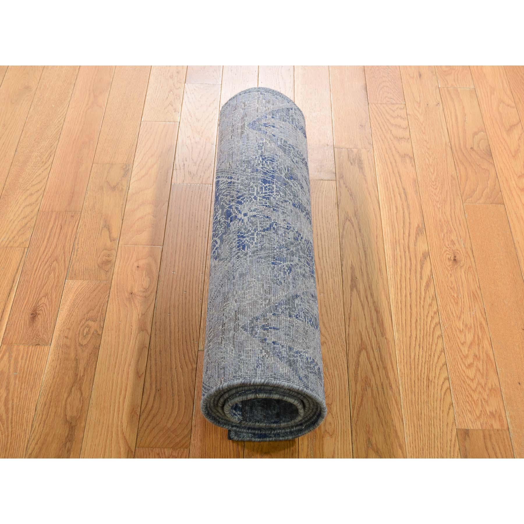 2-5 x8-2  Silk With Oxidized Wool Denim Blue Erased Rossette Design Runner Hand-Knotted Oriental Rug