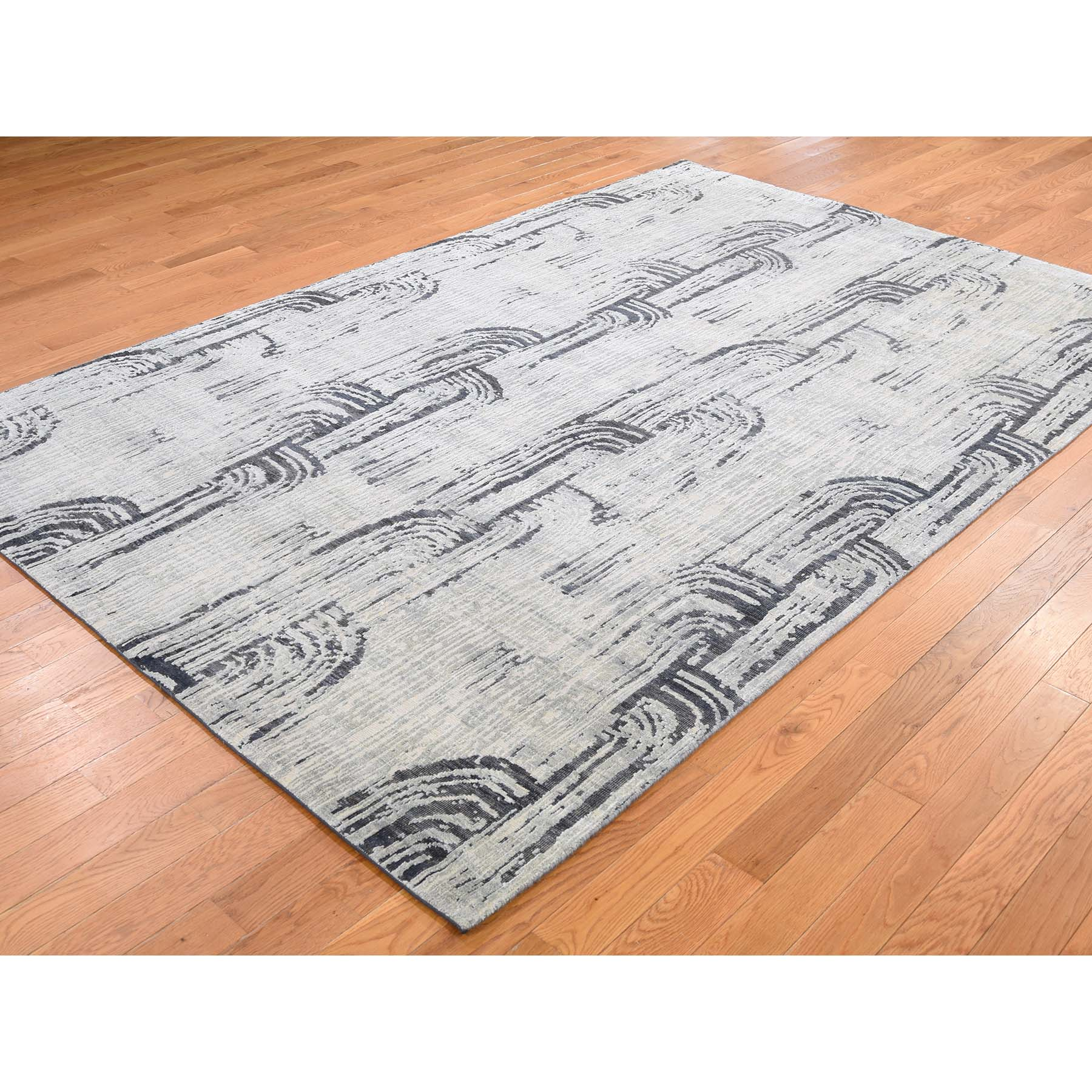 6'x9' THE CANE, Pure Silk With Textured Wool Hand-Knotted Oriental Rug