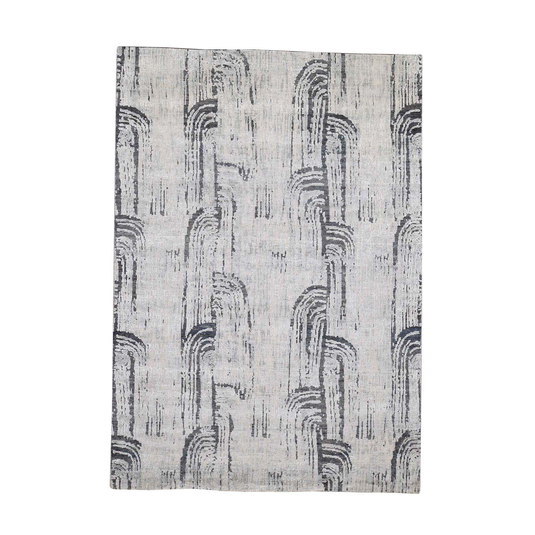 "5'x7'1"" THE CANE, Pure Silk With Textured Wool Hand-Knotted Oriental Rug"
