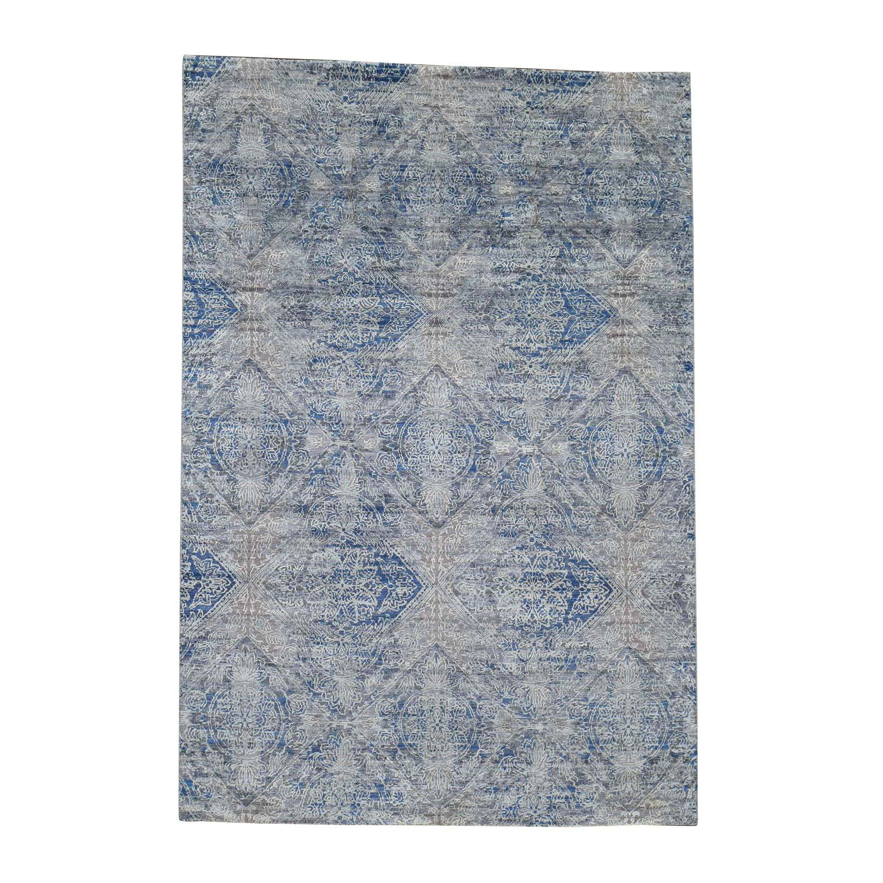 "4'9""x7' ERASED ROSSETS,Silk With Textured Wool Denim BluE Hand-Knotted Oriental Rug"