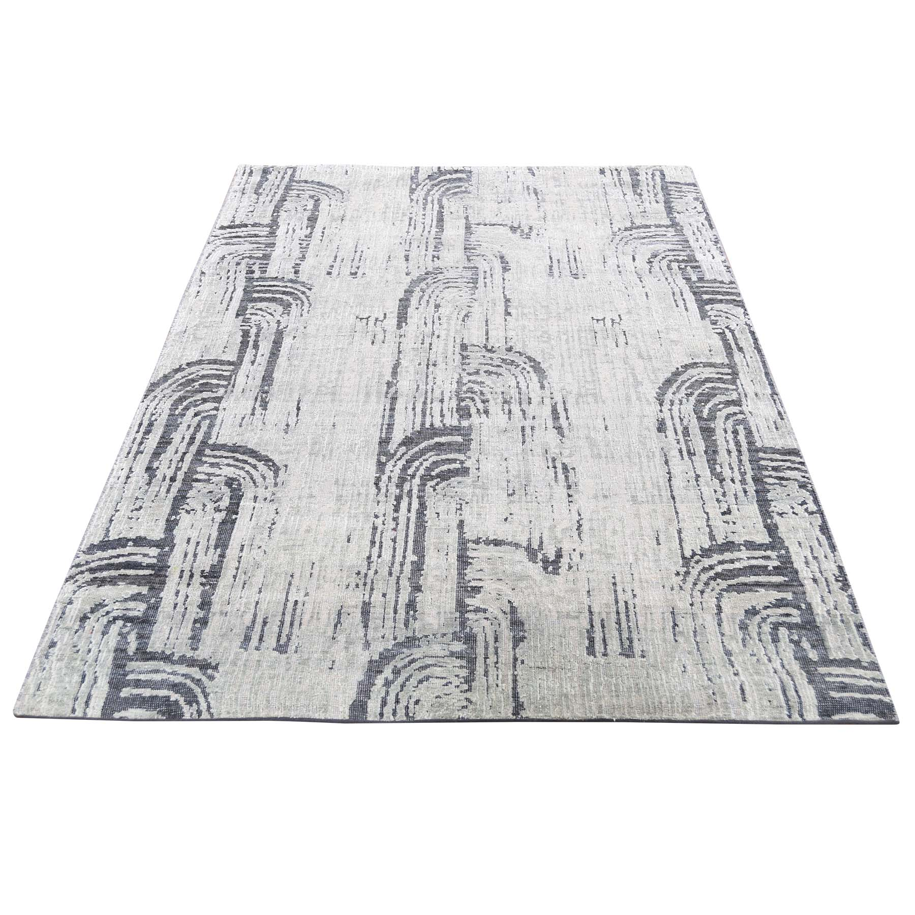"4'x6'3"" THE CANE, Pure Silk With Textured Wool  Hand-Knotted Oriental Rug"