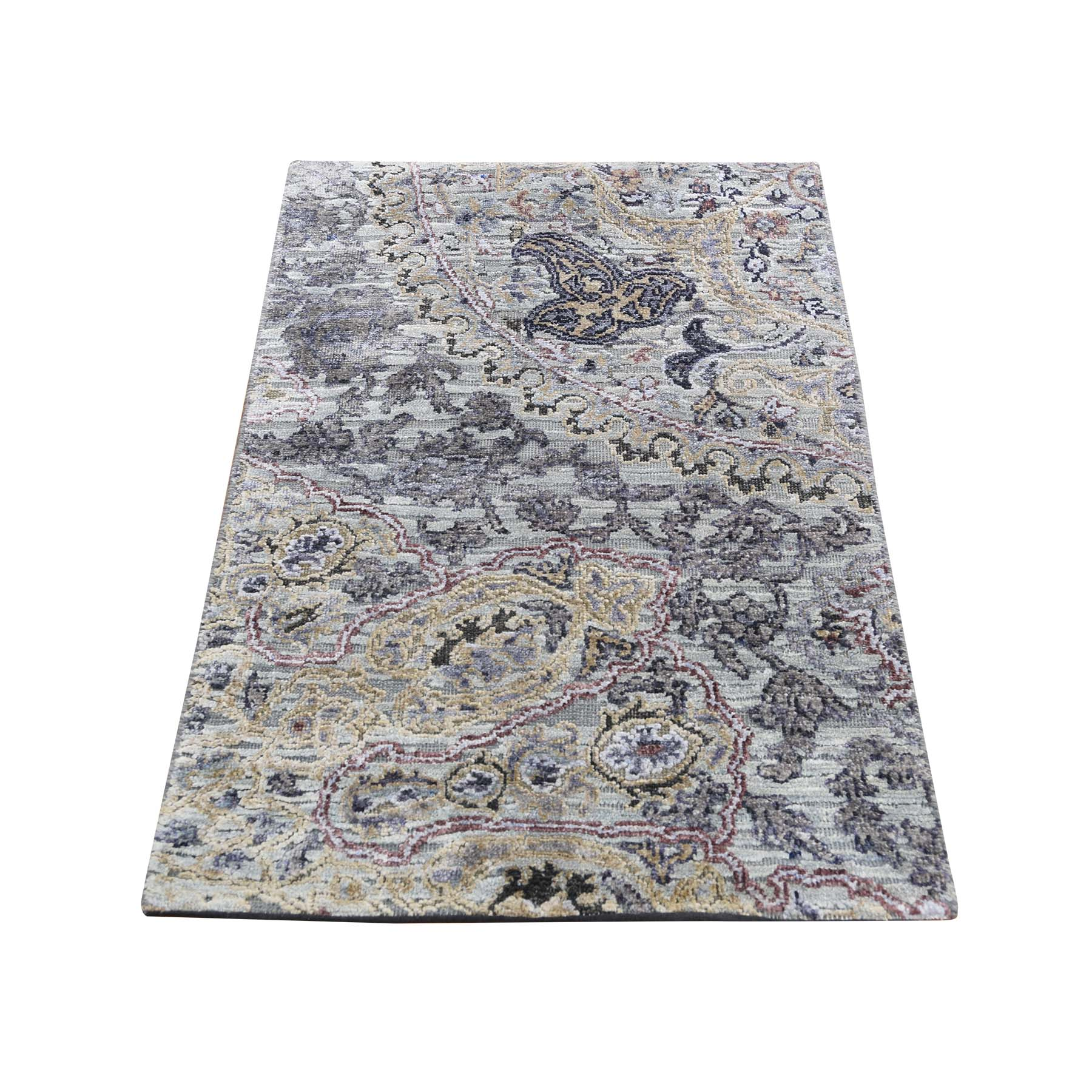 2'X3' The Maharaja, Silk With Textured Wool Hand-Knotted Oriental Sample Rug moadd8cb