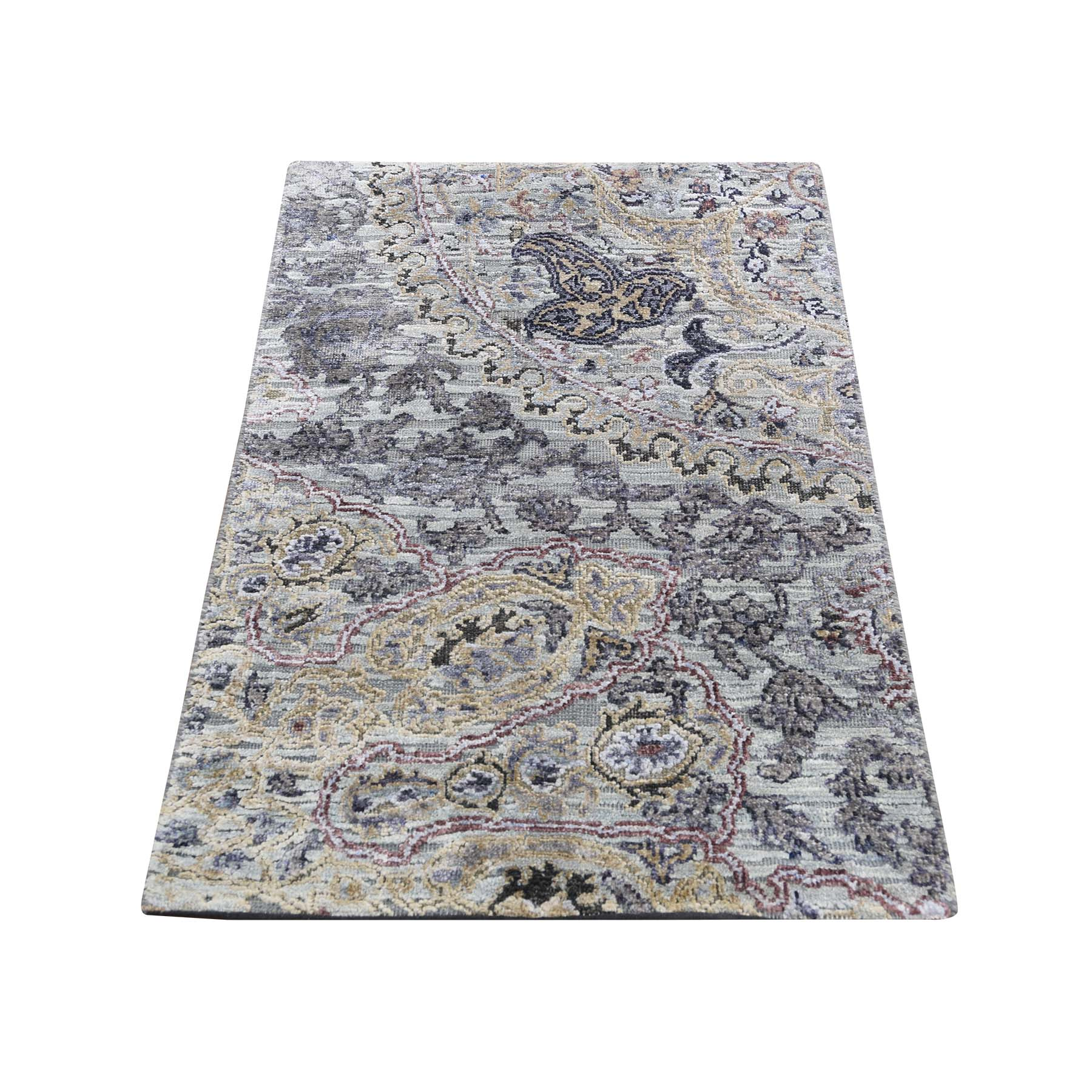 "2'X3'1"" The Maharaja, Silk With Textured Wool Hand-Knotted Oriental Sample Rug moadd8cd"
