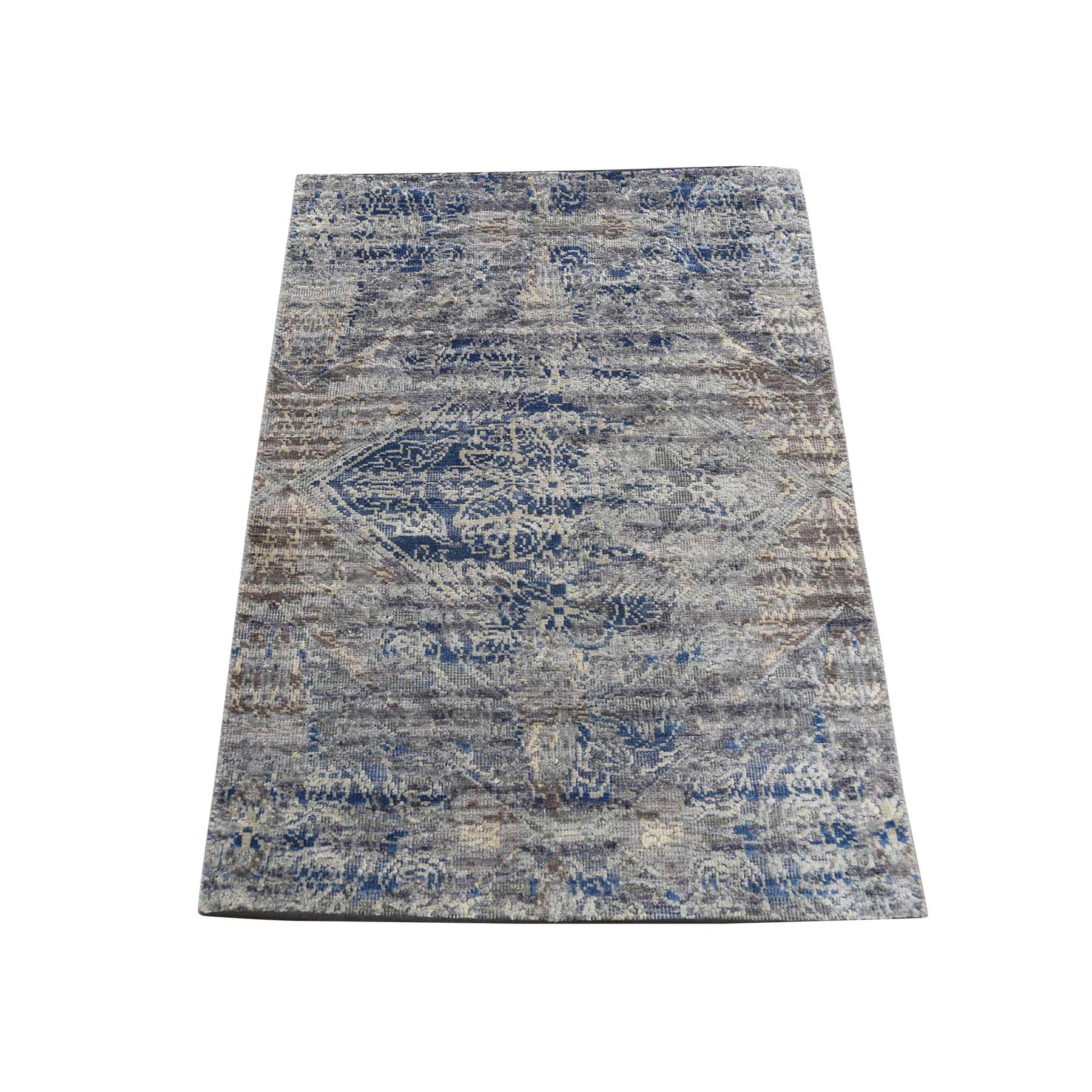 2'X3' Erased Rossets,Silk With Textured Wool Denim Blue Hand-Knotted Oriental Sample Rug moadd8c7