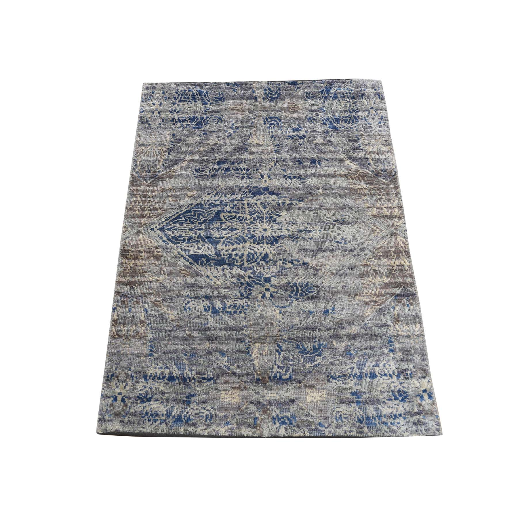 "2'x3'1"" ERASED ROSSETS,Silk With Textured Wool Denim BluE Hand-Knotted Oriental Sample Rug"