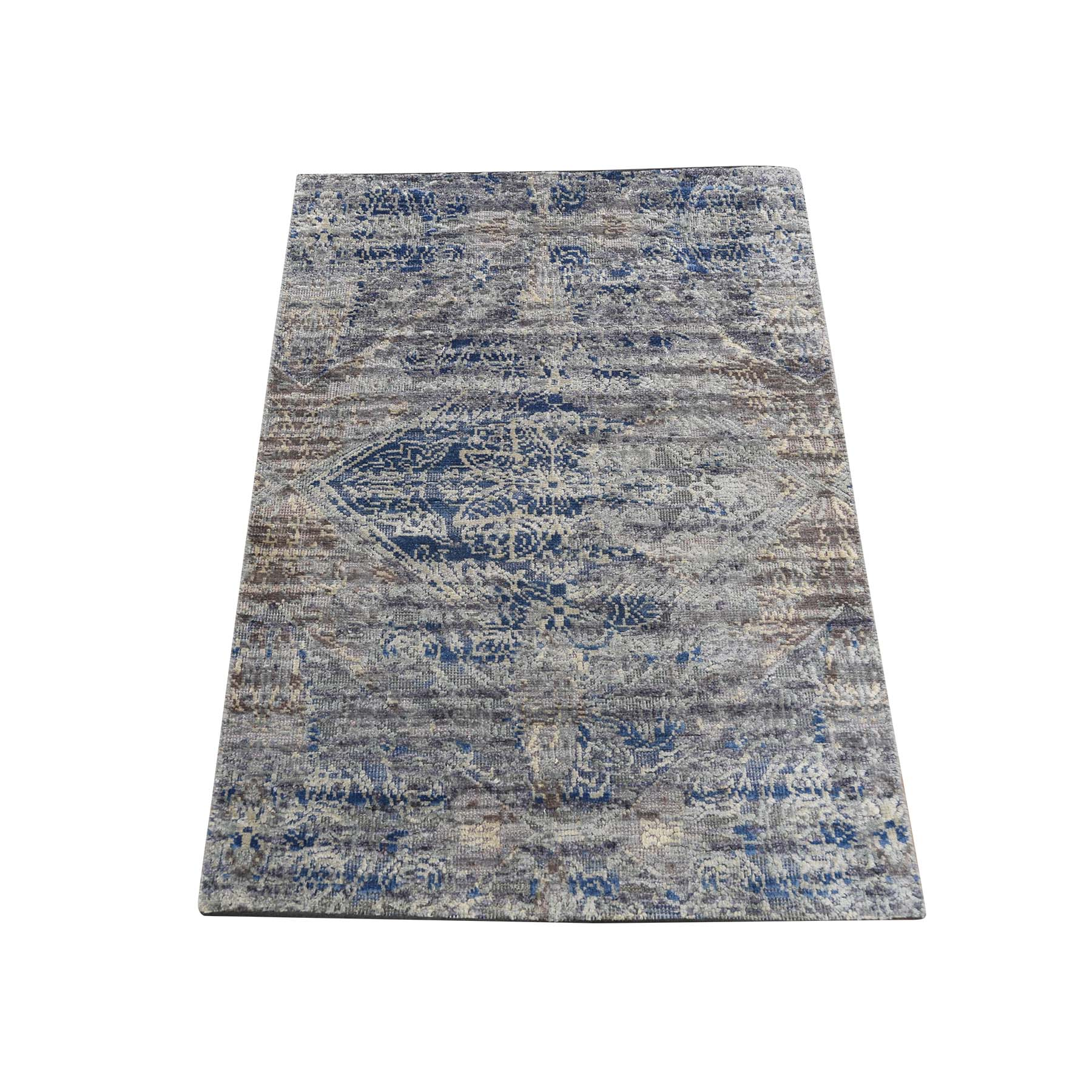 "2'X3'1"" Erased Rossets,Silk With Textured Wool Denim Blue Hand-Knotted Oriental Sample Rug moadd8c9"