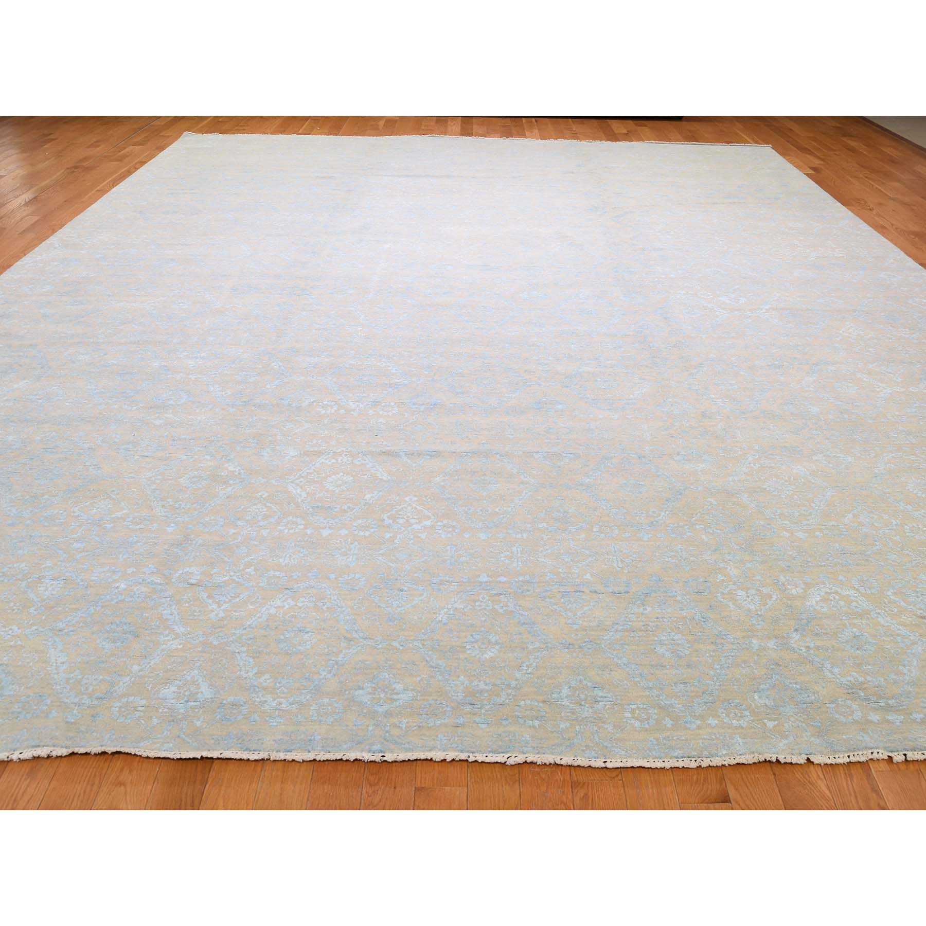 11-10 x15-  Wool and Silk Oversize Ikat Tone on Tone Hand Knotted Rug