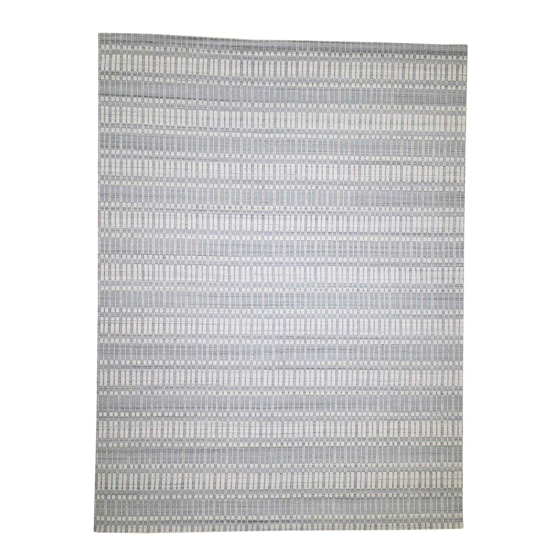 "9'x11'10"" Hi Lo Pile Pure Wool Tone On Tone Hand-Loomed Oriental Rug"