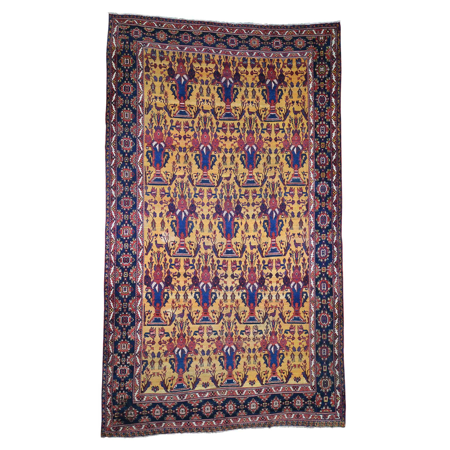 "10'4""X17'7"" Antique Persian Gallery Size Bakhtiari Pure Wool Hand-Knotted Oriental Rug moadd87b"