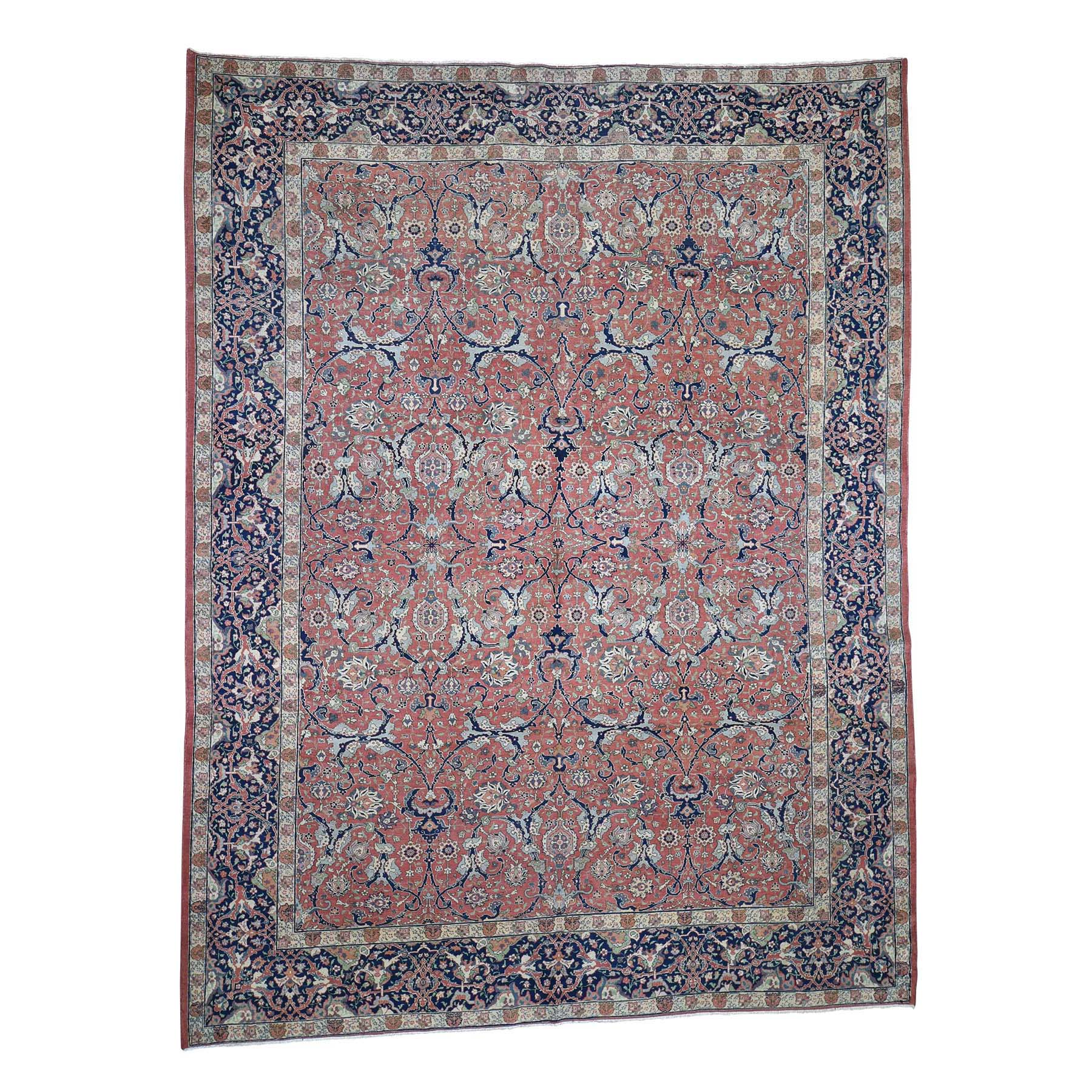 "8'4""X11' Antique Persian Tabriz Pure Wool Good Condition Some Wear Hand-Knotted Oriental Rug moadd87c"
