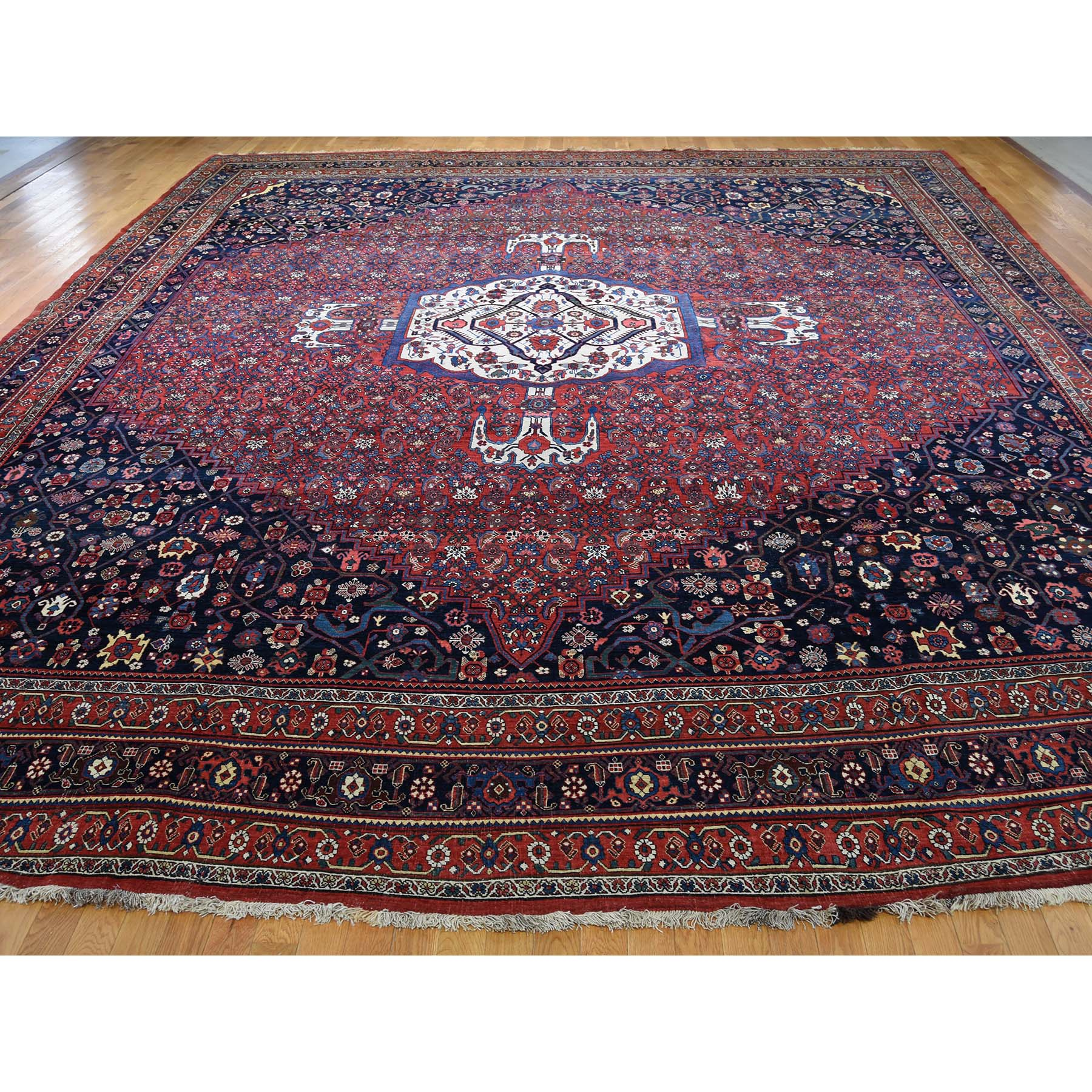 "14'6""x19' Antique Persian Bijar Pure Wool Exc Condition Oversize Pure Wool Hand-Knotted Oriental Rug"