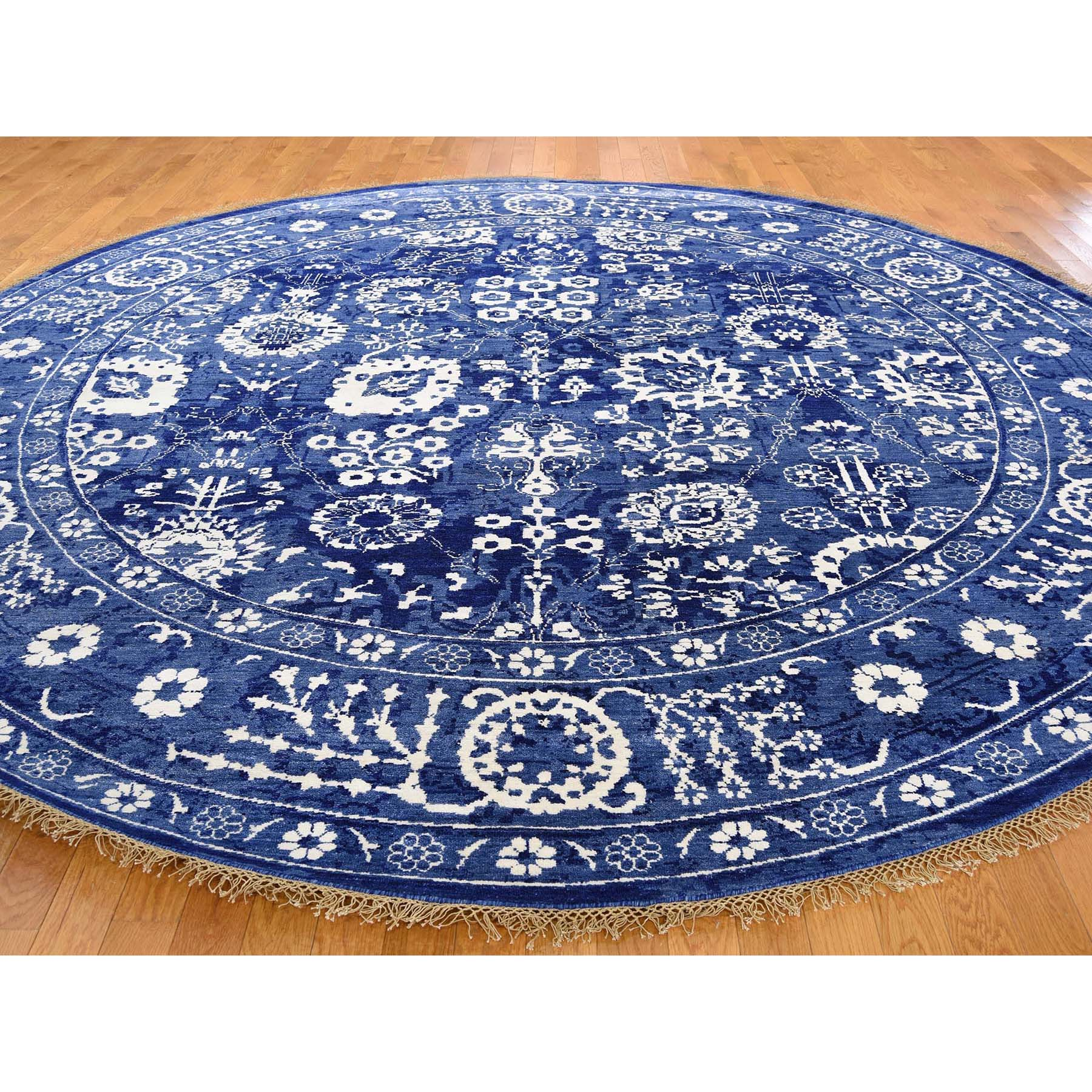 """7'1""""x7'1"""" Hand-Knotted Wool And Silk Round Tone on Tone Tabriz Oriental Rug"""