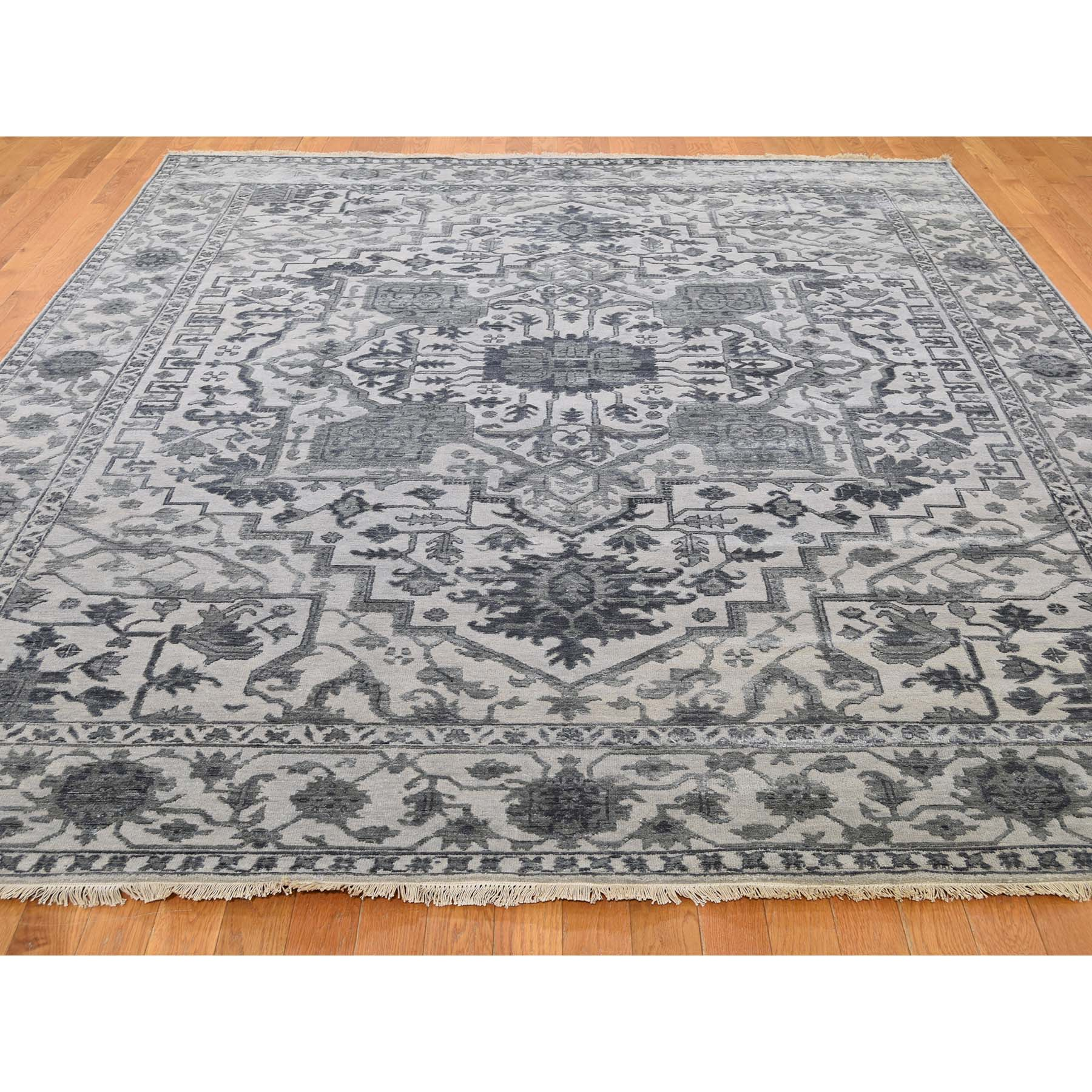 8-1 x10-1  Silver Heriz Design Wool And Silk Hi-lo Pile Hand-Knotted Oriental Rug